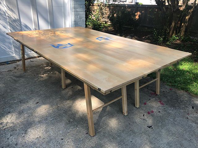Custom table(s!) for a pong variant called Scatter. Four-person individual game. Each player places six 9oz cups anywhere on the table. Four balls in play. Rebound one to shoot. Last one with cups on the table wins! #victorytables #beerpong #beerpongtable #furniture #furnituredesign #bespoke #boutique #mancave #fraternity #gametables #homedecor #college #patiodecor #classy #madeinusa