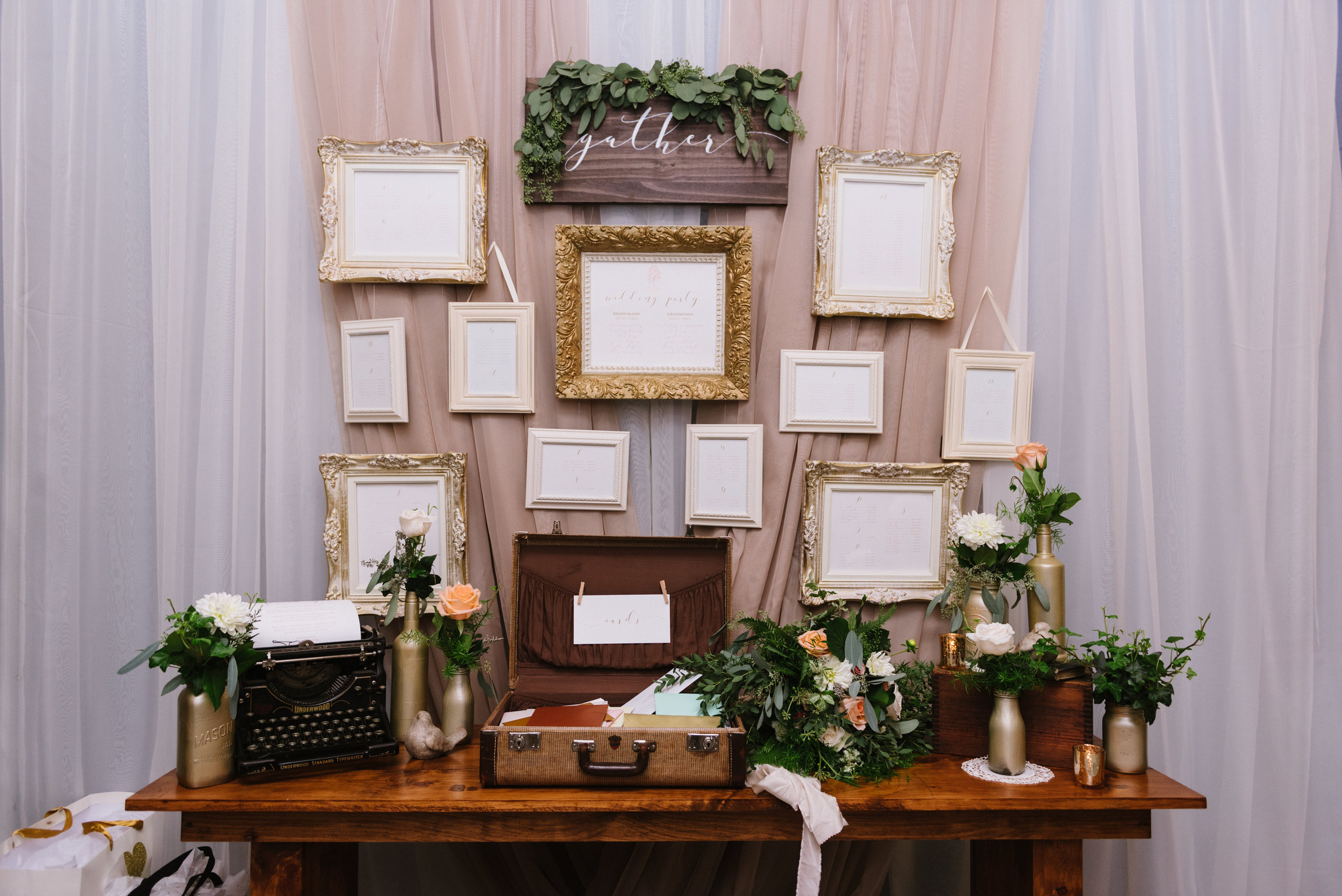 Seating plan display with metallic, vintage and wooden accents.   Venue:    St. Marys Golf & Country Club   . Decor & Styling:    Above & Beyond Event Design   . Photography:    Erin Leydon   .