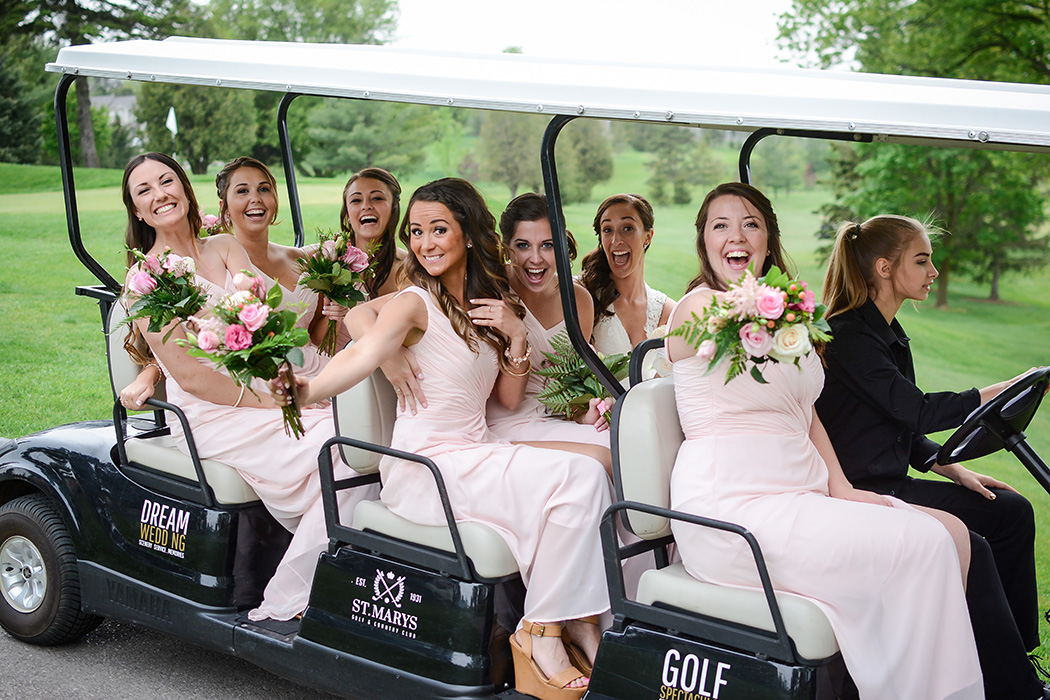 Happy, fun-loving girls are the best bridesmaids to have by your side on your wedding day. Venue:  St. Marys Golf & Country Club . Photography:  Nina Polidoro .