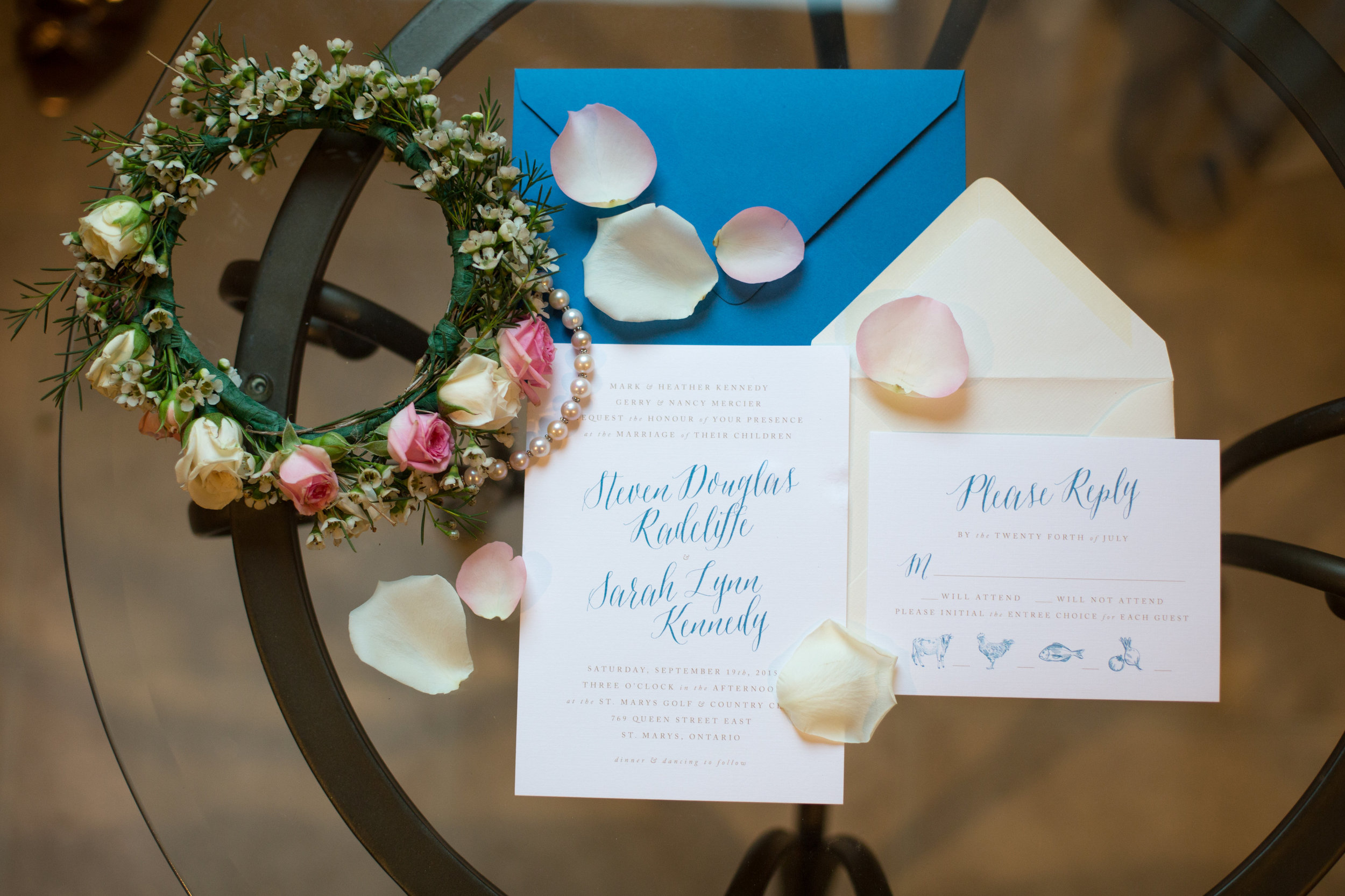 Invitation and RSVP cards in soft blue and champagne tones for a  St. Marys  wedding. Photography: Maigan Cowen.