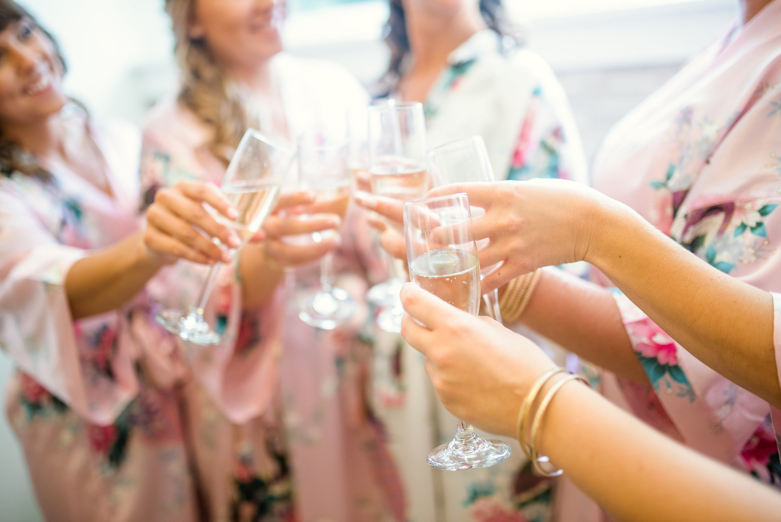 Serve fun and refreshing sparkling wine to bridal shower guests, and send them home with the floral robes they'll wear at the party as their favour. Venue:  St. Marys Golf & Country Club .
