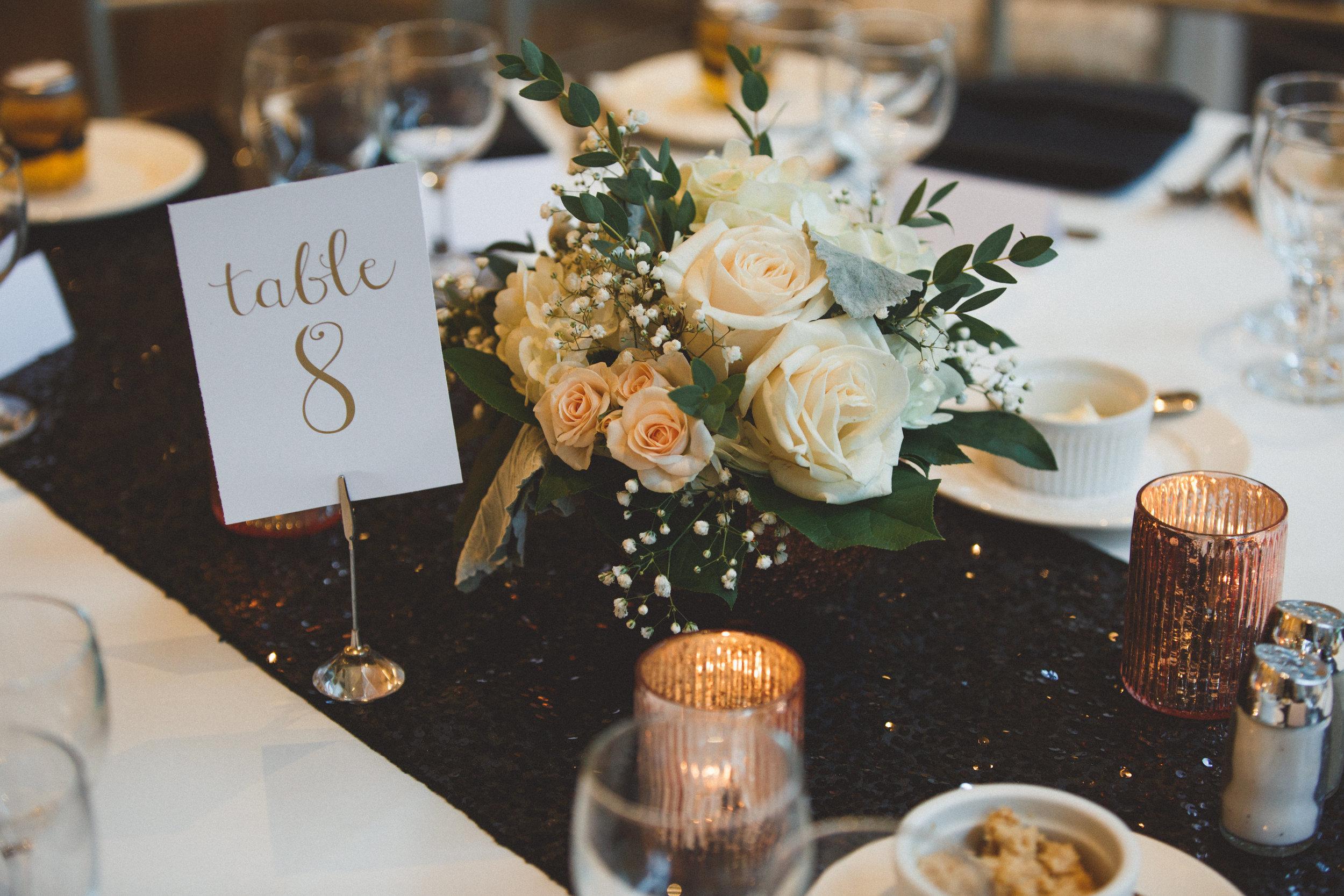 wedding-floral-centerpiece-white-black-sequin