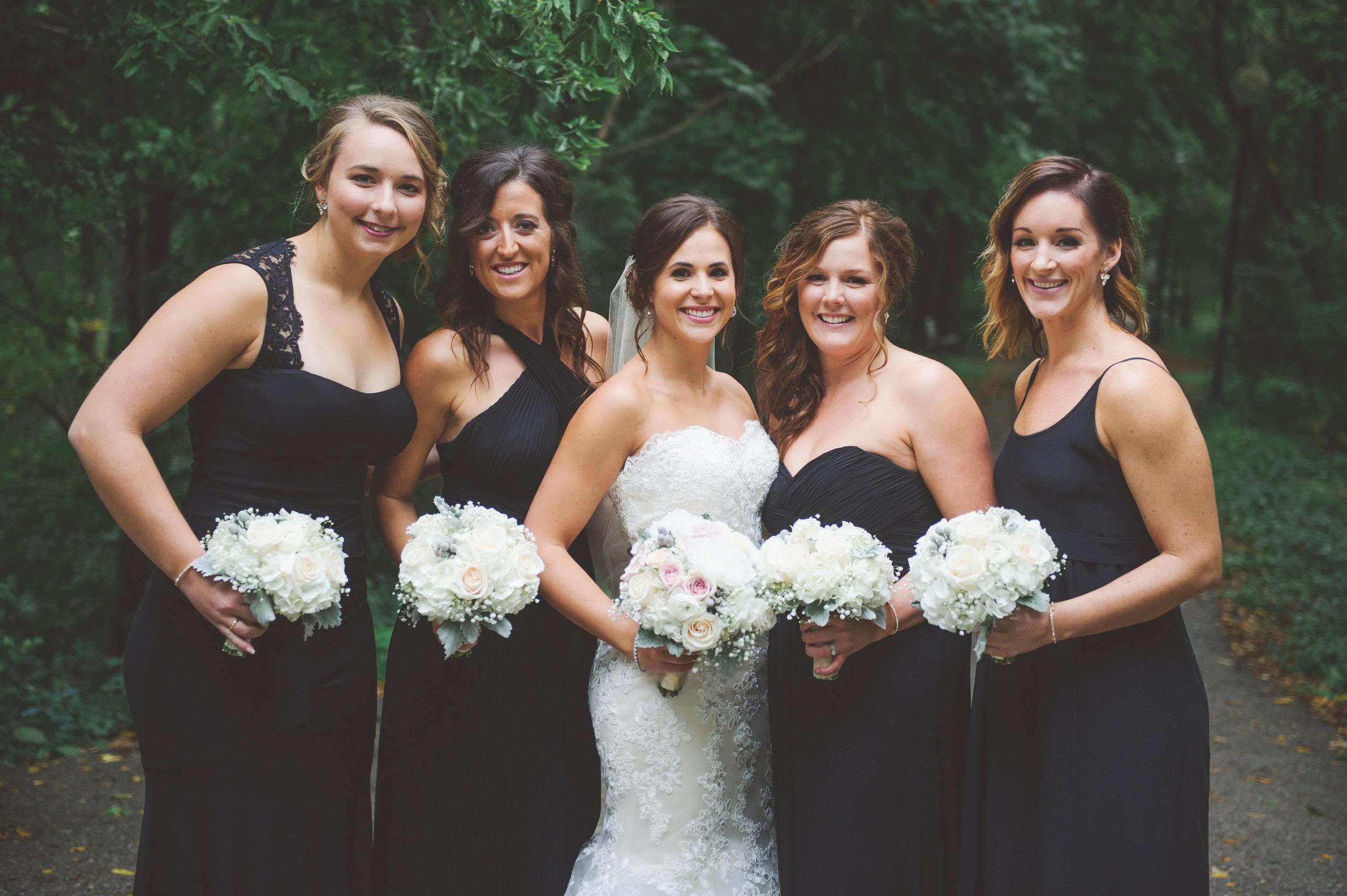 bridesmaids-black-floorlength-dresses