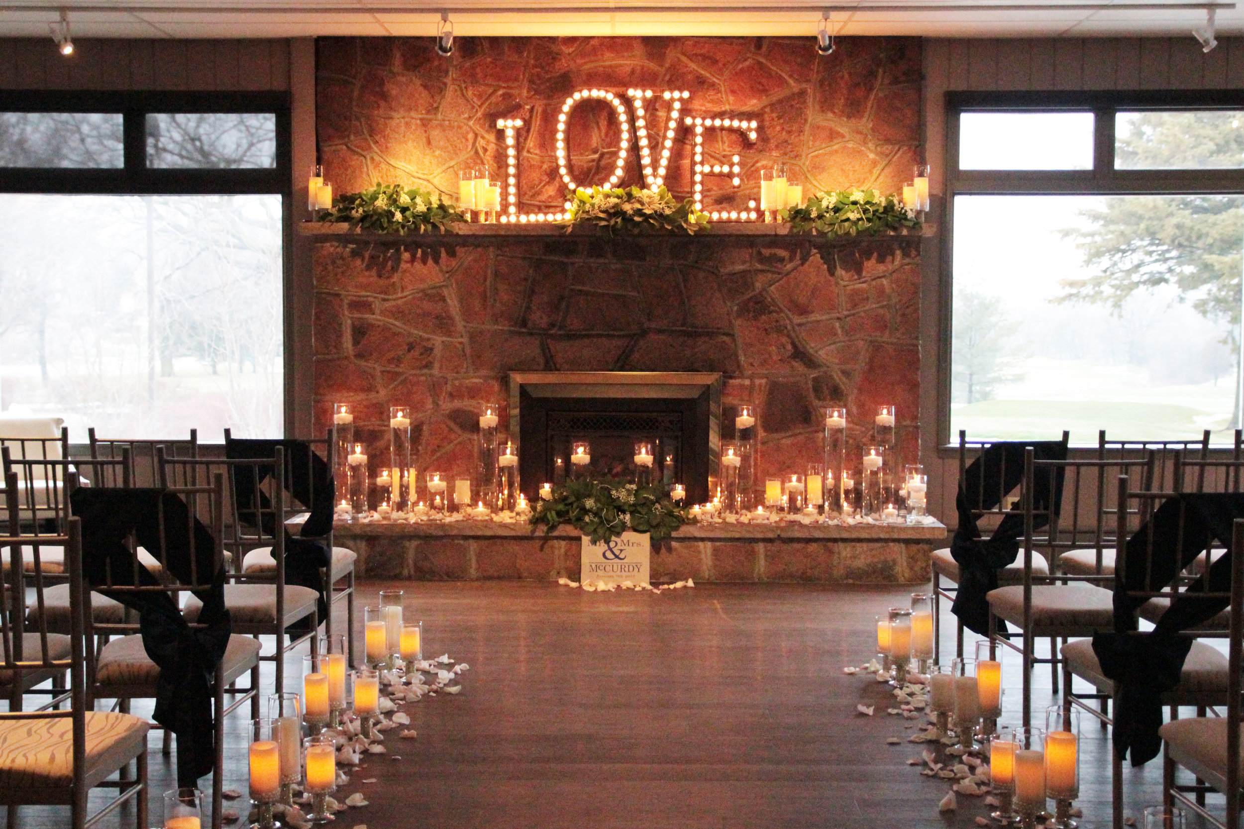 One of the main advantages of winter weddings at the St. Marys Golf & Country Club is the exclusivity of our venue - from an intimate ceremony in front of the Clubhouse stone fireplace (above), to a lavish reception in the  Ballroom , the venue is all yours in the offseason. Decor & Styling:  Above & Beyond Event Design . Photography:  Nina Polidoro . (See more of Robin & Mike's wedding  here ).