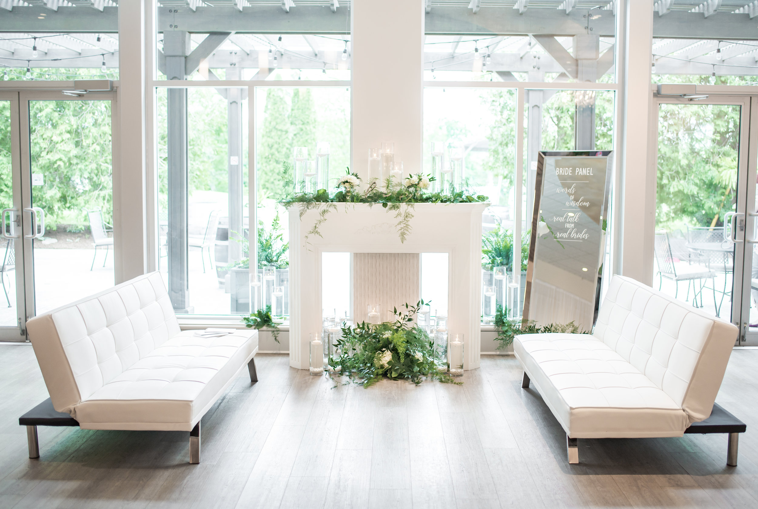In addition to inspiring   attendees of the Open House to setup intimate conversation areas or photo backdrops at their own wedding, the ultra-dreamy Ballroom lounge also provided the setting for our Real Bride Panel to provide words of wisdom to future couples.