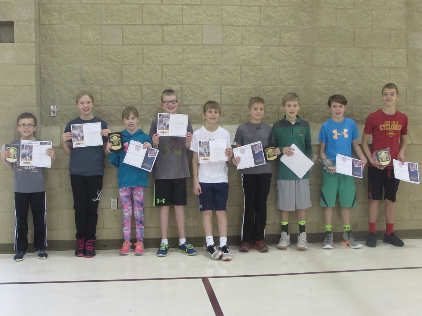 Participants in the Knights of Columbus 5038 free throw shoot at OLIH in Ankeny; L to R: Cael Faber, Emily Buckley, Hannah Howard, Ben Steemken, Cole Pieper,Ethan Bovee, Tyson Meiners, Zach Steemken, Ryan Allen. Winners will move on to district competition Sat, Jan 28 at St. Lukes in Ankeny