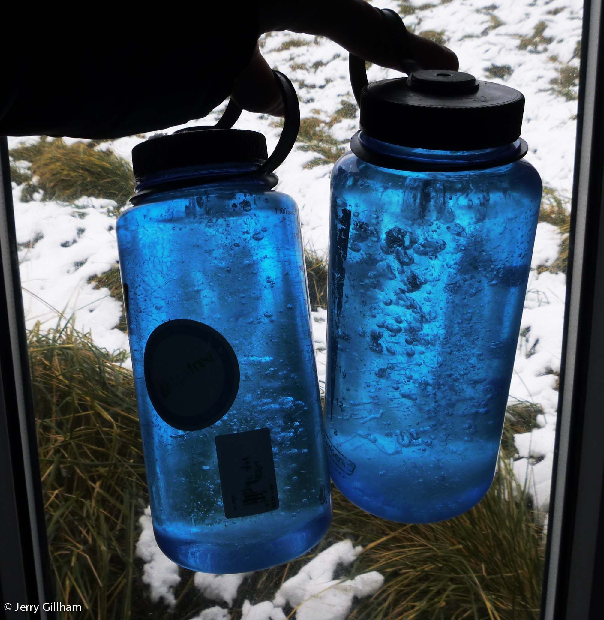 One of my rambles was to the field hut to check supplies over there. Our water situation wasn't particularly useful as these nalgene bottles had frozen solid (though I was impressed they hadn't broken). Luckily I had a bottle of fresh water with which to make a cup of tea.