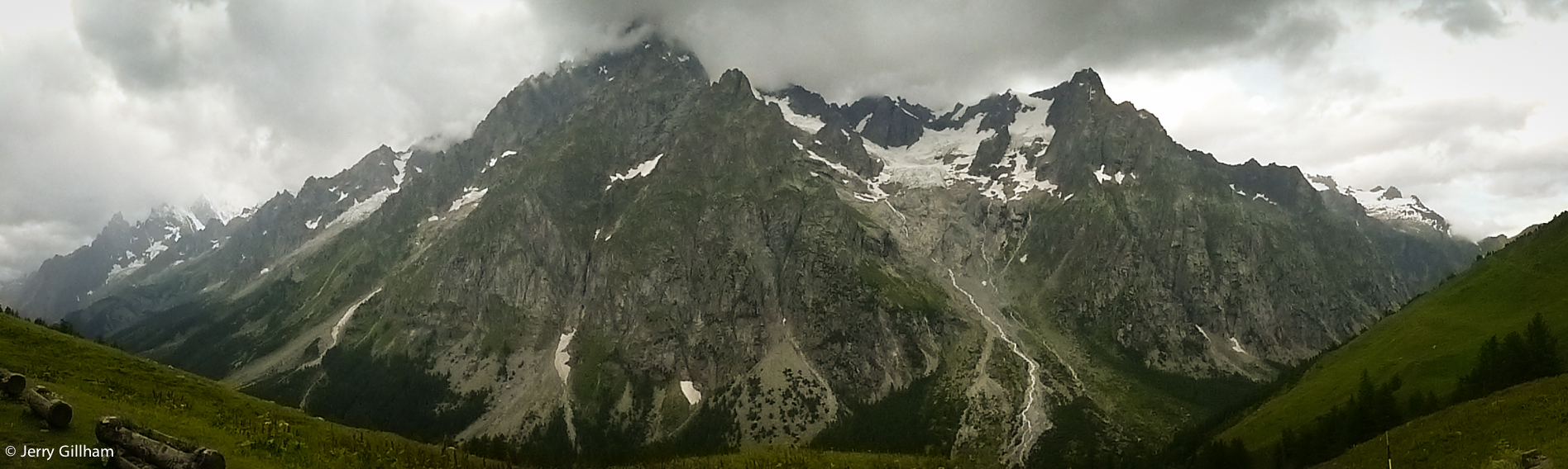 View of the Grande Jorasses from the Refuge Bonatti.