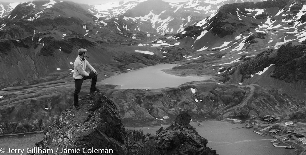 Jamie recreating one of the famous photographs Shackleton / Hurley from the Endurance expedition of 1914. Looking down on the whaling station at Grytviken and Gull Lake from an outcrop of Duse.