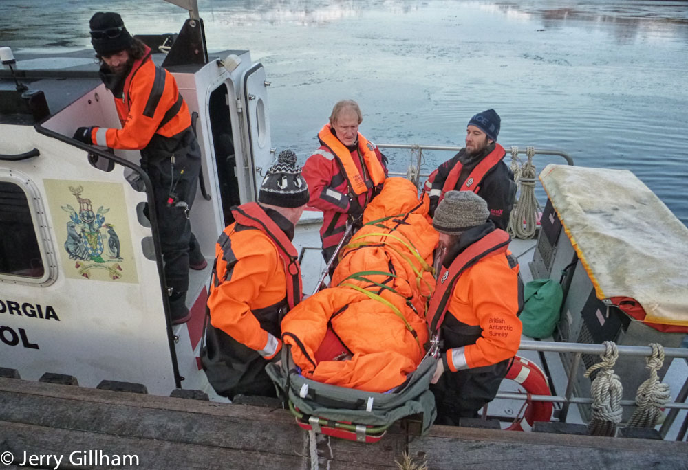 As we could have an incident anywhere off station we practiced bringing him back on the boat. Loading him from the jetty was relatively simple - next time it might be a RHIB pick up and mid-water transfer.