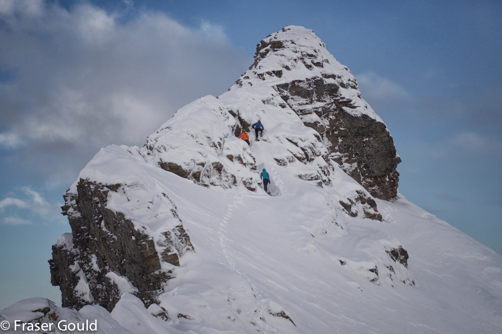 Paddy, Vicki and I ascending the pyramid summit. In the summer we were amazed at how simple this route turned out to be. With snow and ice it was a little tricker. Summit height is about 600m. Fraser's photo.