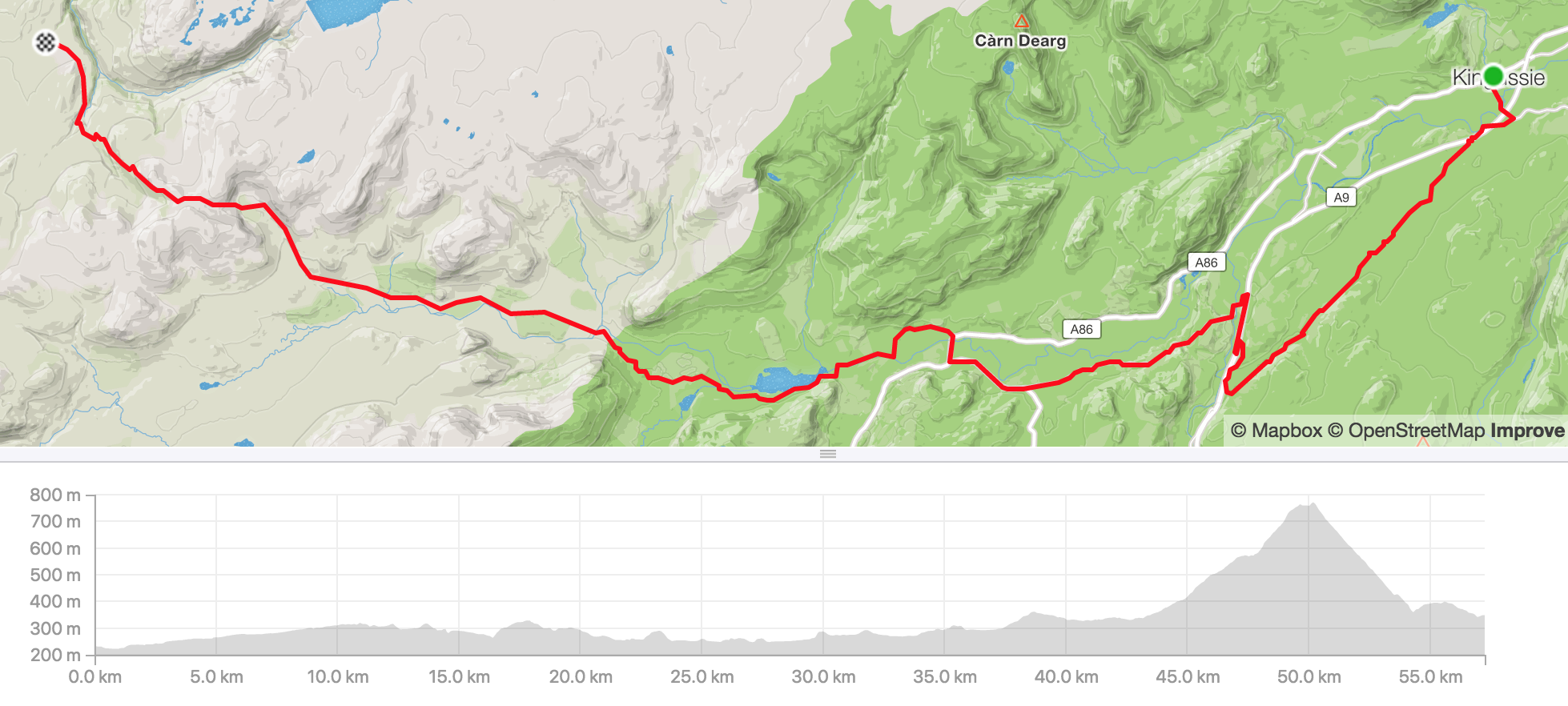 Distance 57.3km, ascent 1,025m