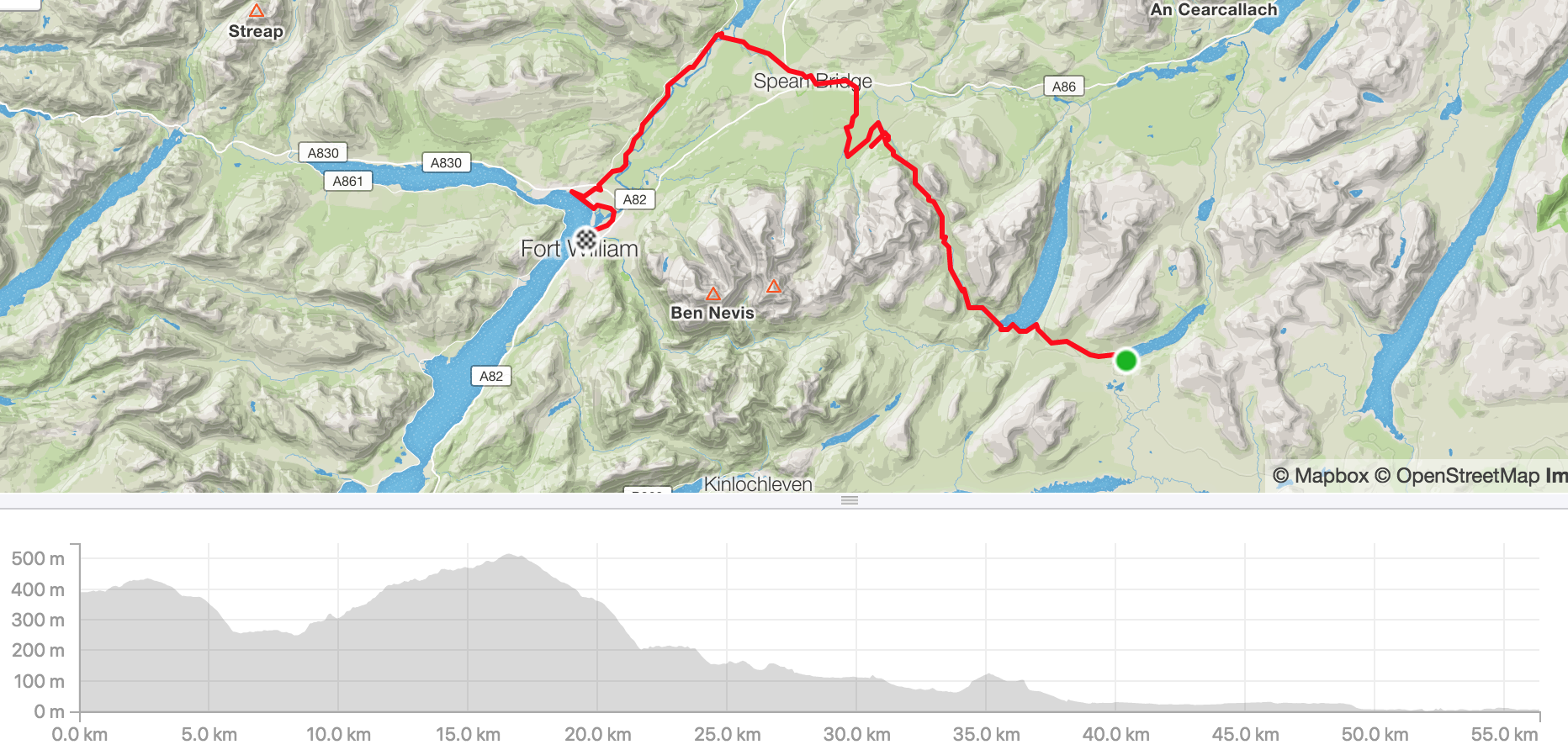 Distance 56.4km, ascent 617m