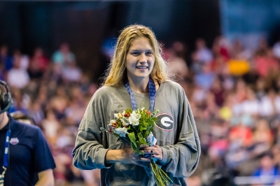 Smoliga at the medal ceremony at the Olympic Trials (photo courtesy of USA Swimming)