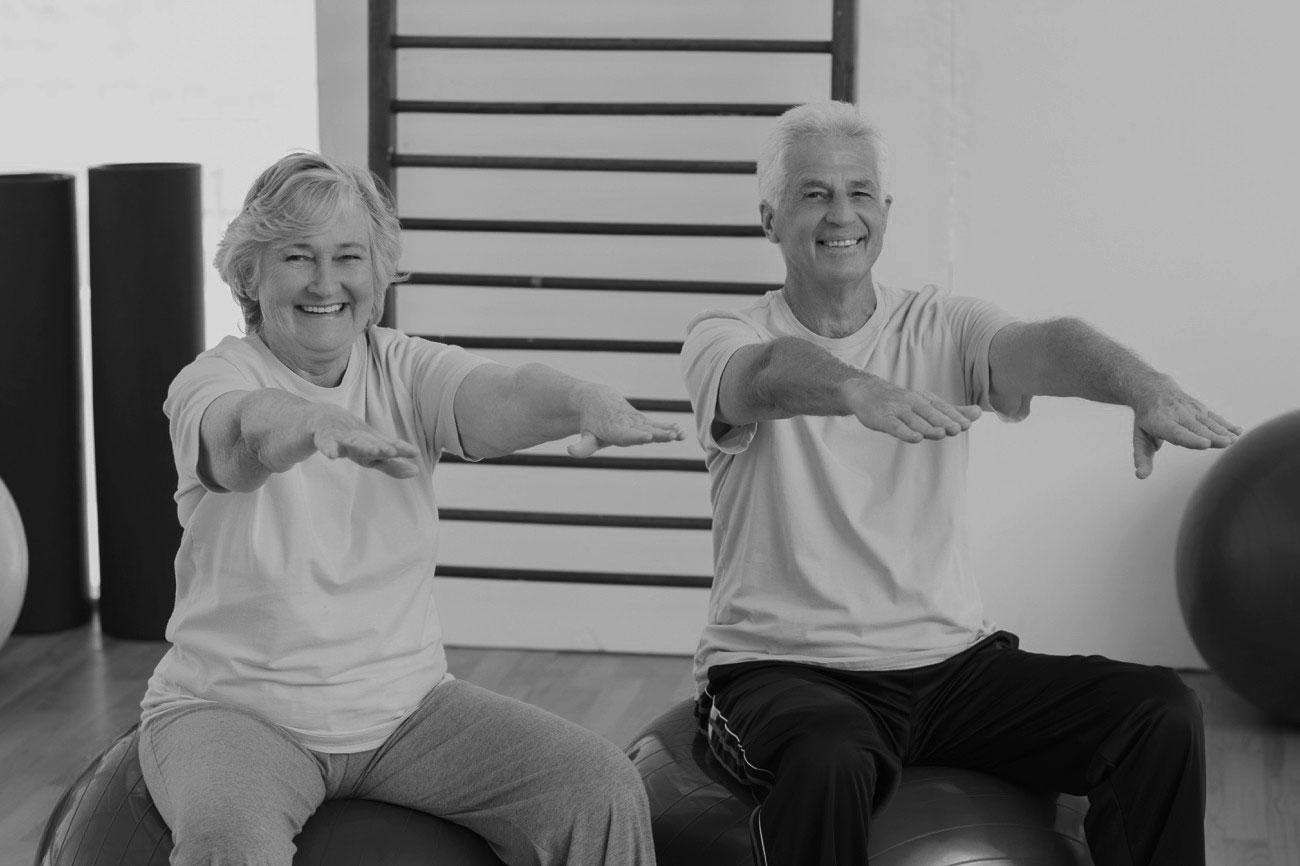 Senior Exercise Class on bosu balls