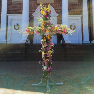 Easter Sunday cross with flowers.JPG