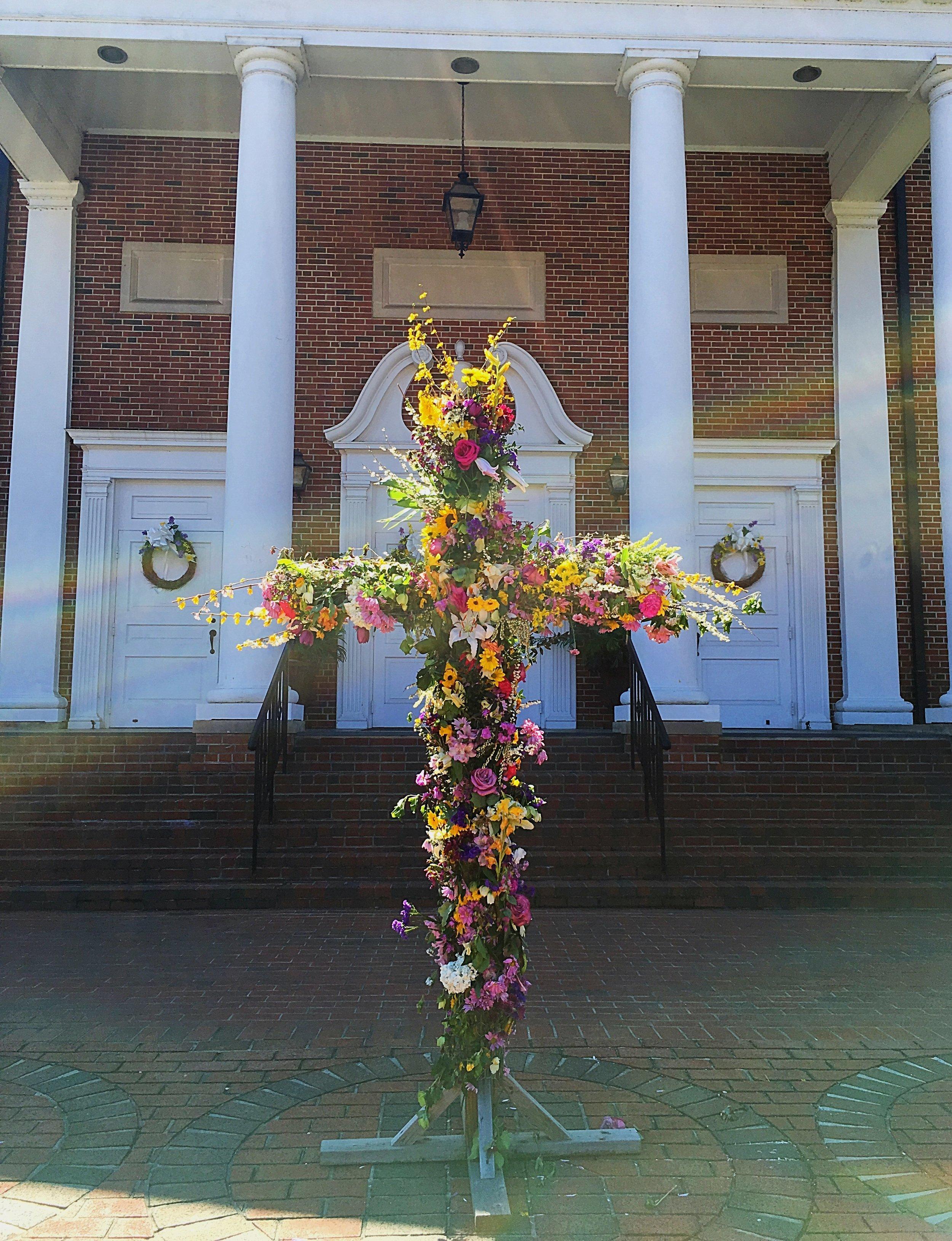 Easter Sunday cross with flowers.JPG