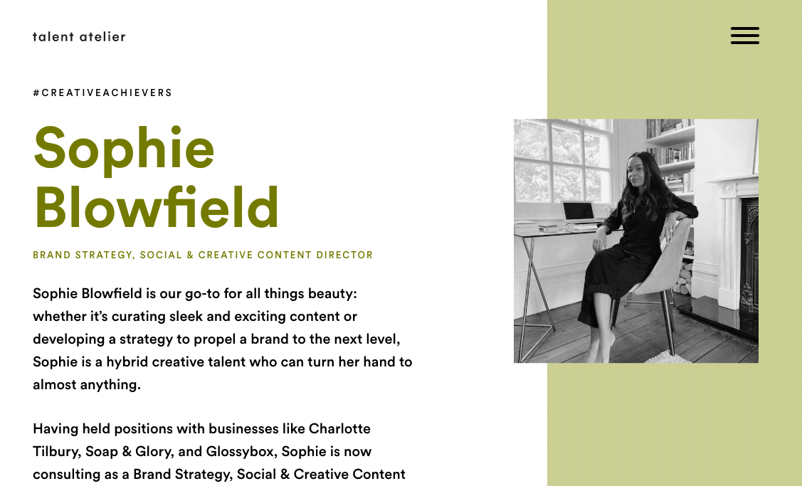 TALENT ATELIER | Sophie Blowfield features in Talent Atelier's list of #CreativeAchievers. -