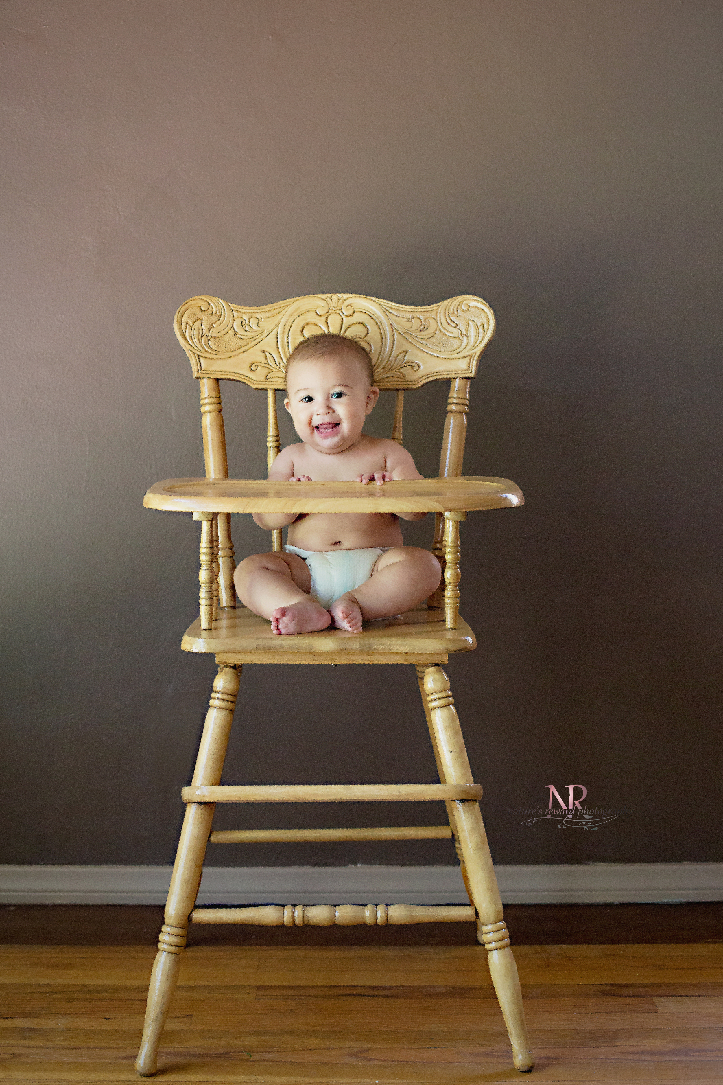 Into the high chair he went! A little small for it, and he would slowly start to lean- But he looks stinking adorable,
