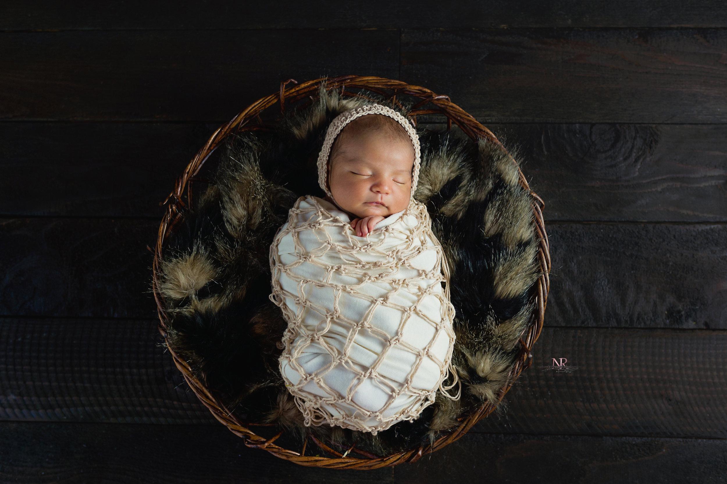 newborn swaddled in a bowl