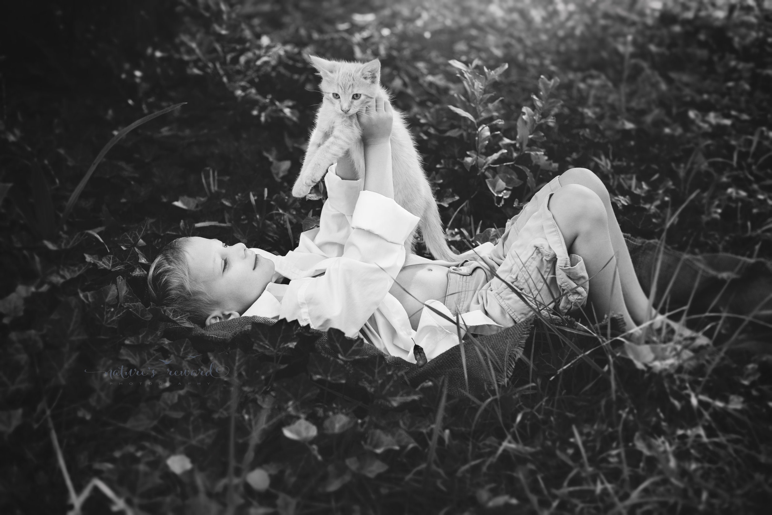 And then Caden lifted him into the air and presented the orange cat as if he too would be lion king and named Simba. With the light shining on them and the ivy brilliant in it its texture and fullness this image screams to me in black and white.