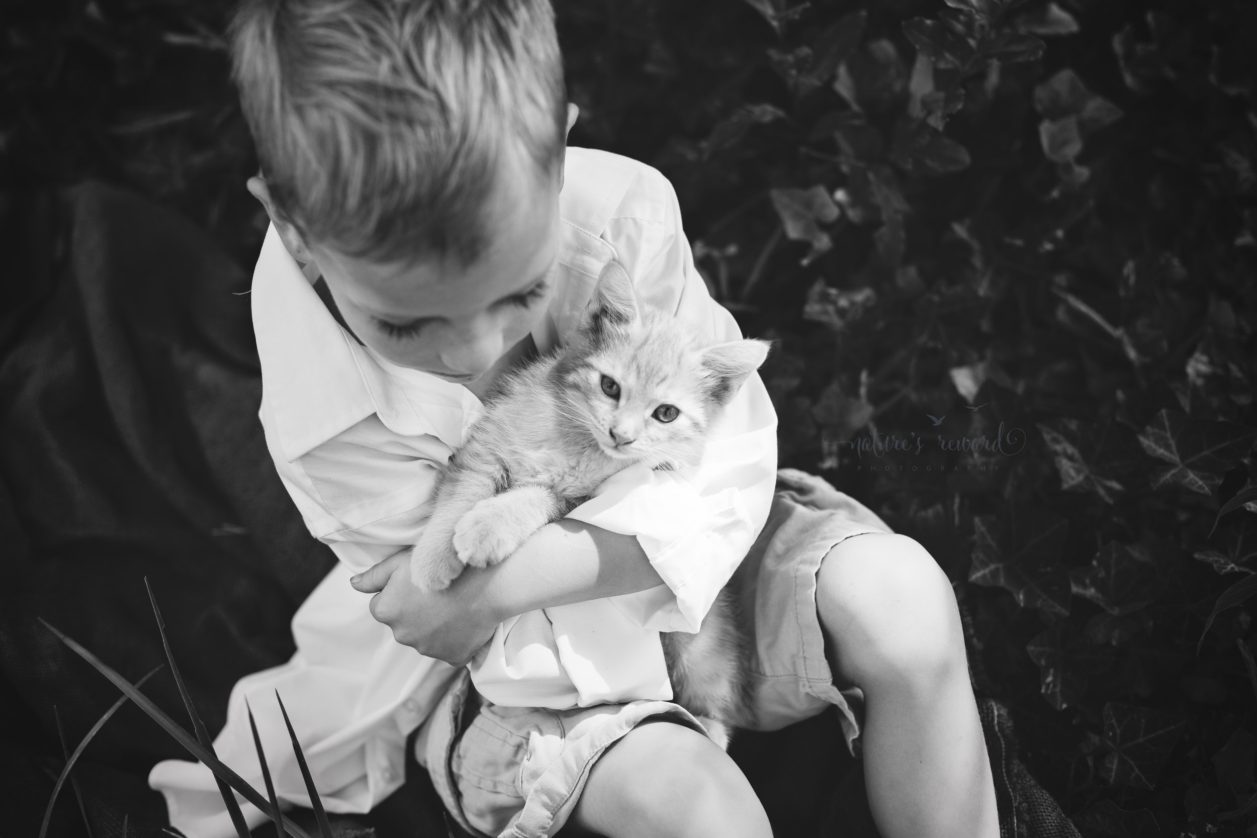 And Caden Cuddled the cat in a sweet armful of furry kitten. The light caught in the kitten's eye. I prefer candid shots in black and white- and this one is no exception.