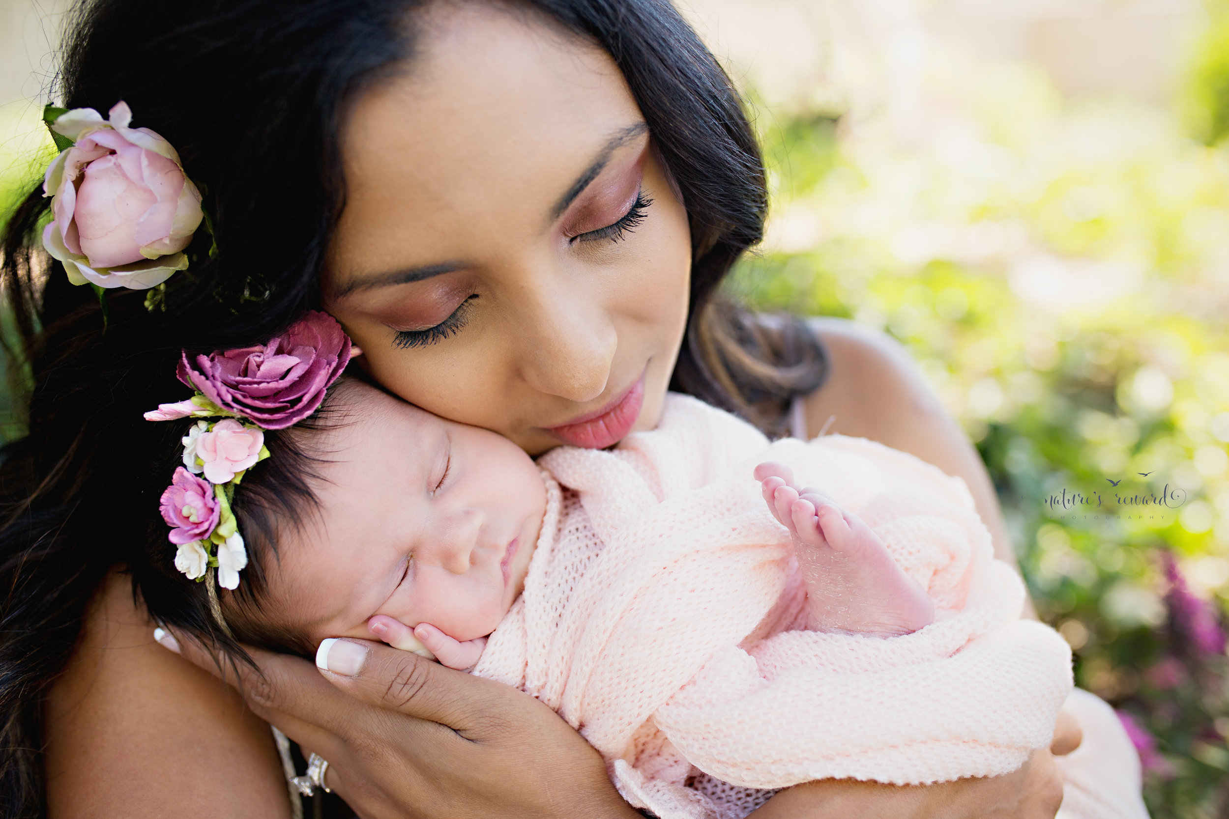 Gorgeous mother and daughter portrait