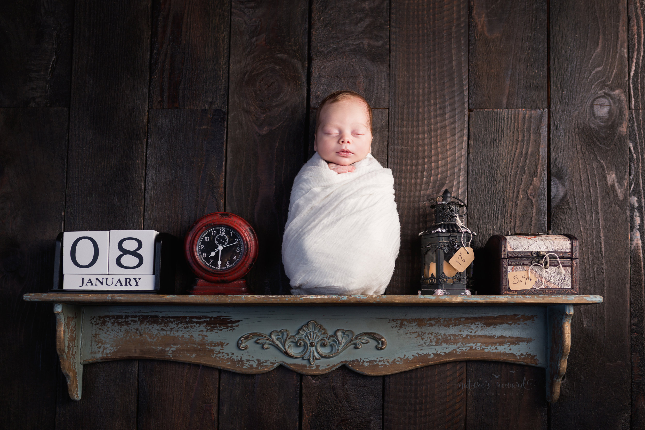 Baby on a shelf swaddled in white his birth story told through items on the shelf by Southern California newborn and family photographer Nature's Reward Photography