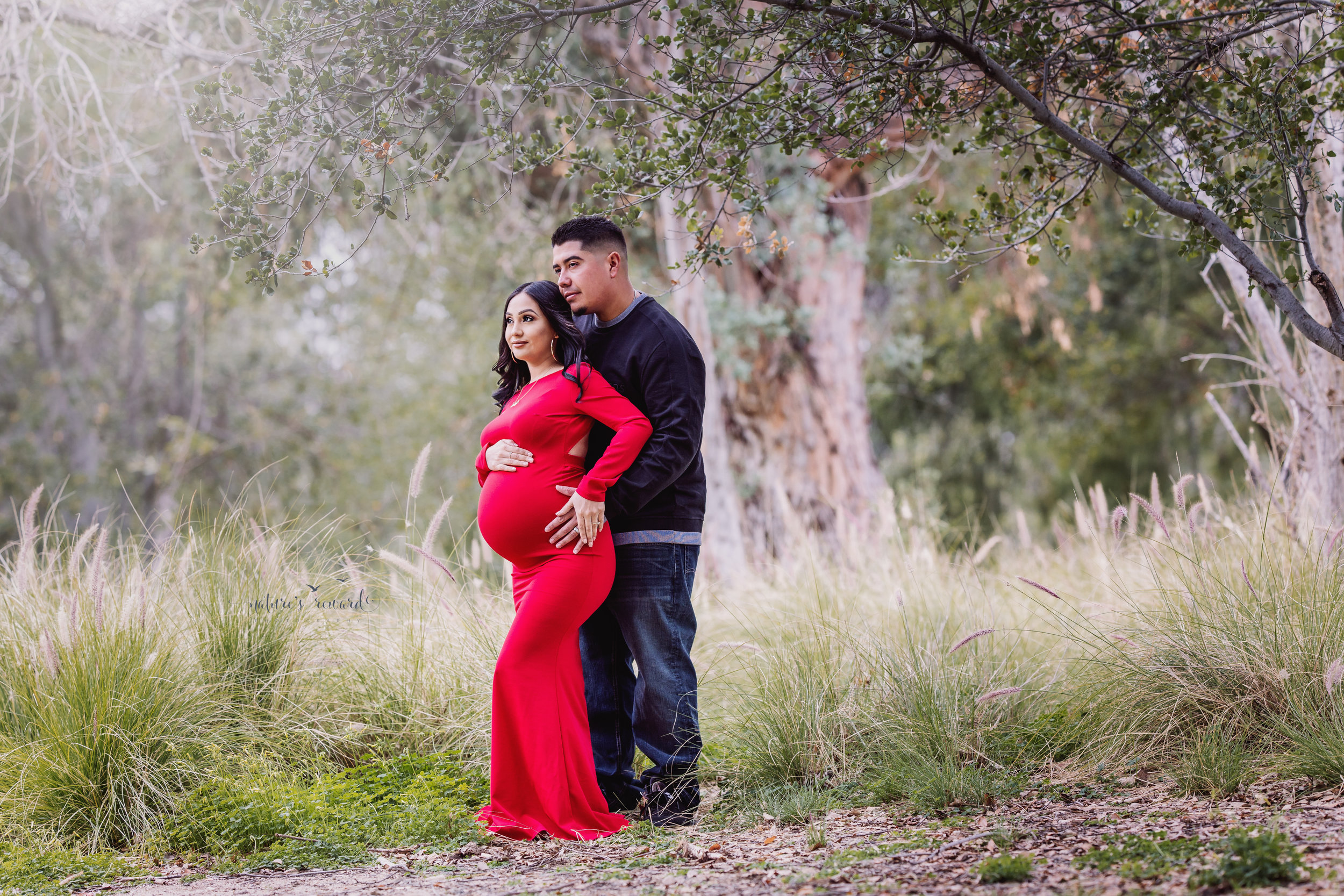 Looking towards the next chapter of their lives in this beautiful maternity portrait of mom to be in a beautiful red maternity gown and her husband in dark wash jeans and long sleeve shirt in this portrait by San Bernardino Based Photographer Nature's Reward Photography.