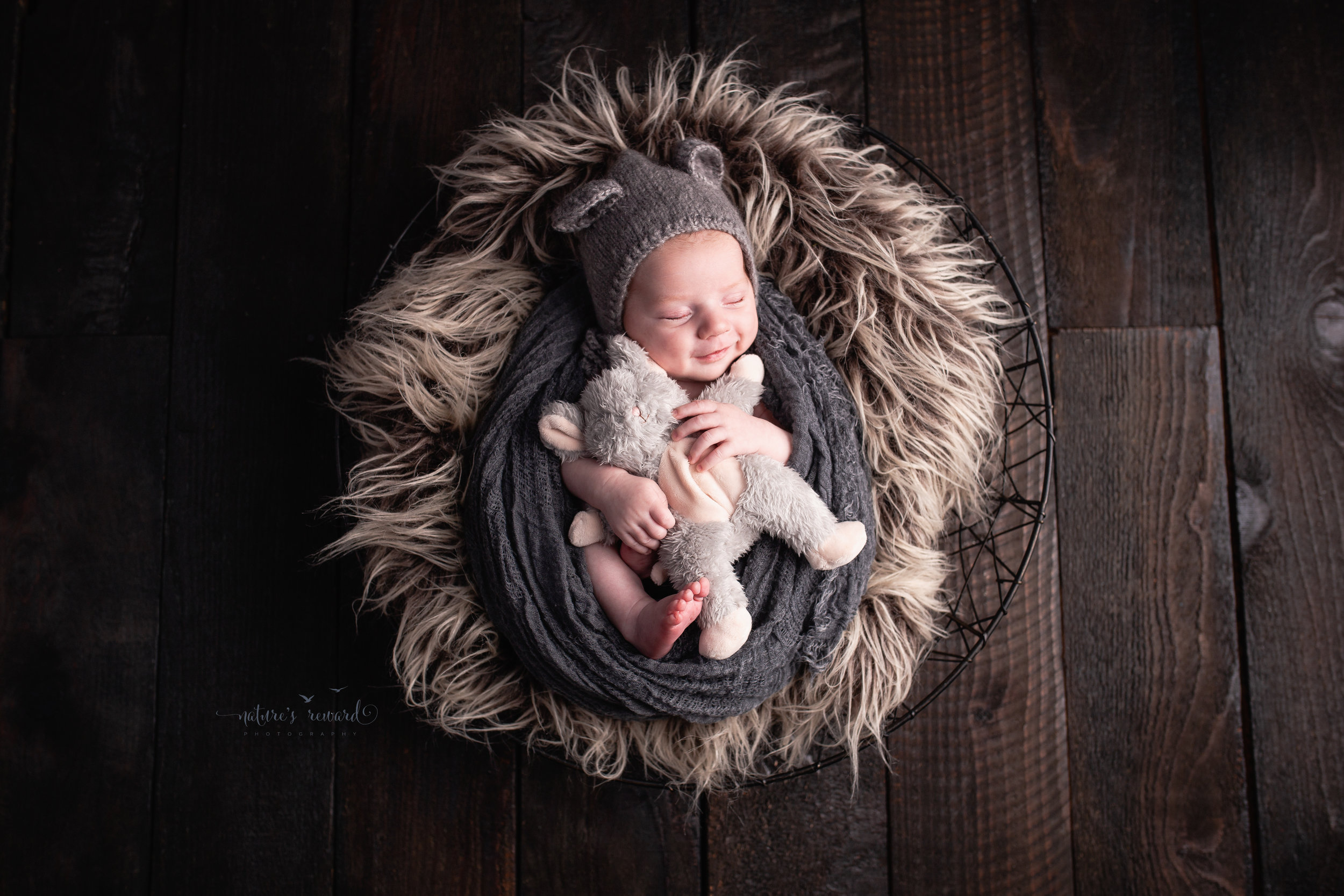 Baby boy wrapped in grey holding a mouse while wearing a mouse eared bonnet smiling into the light in this portrait by Nature's Reward Photography