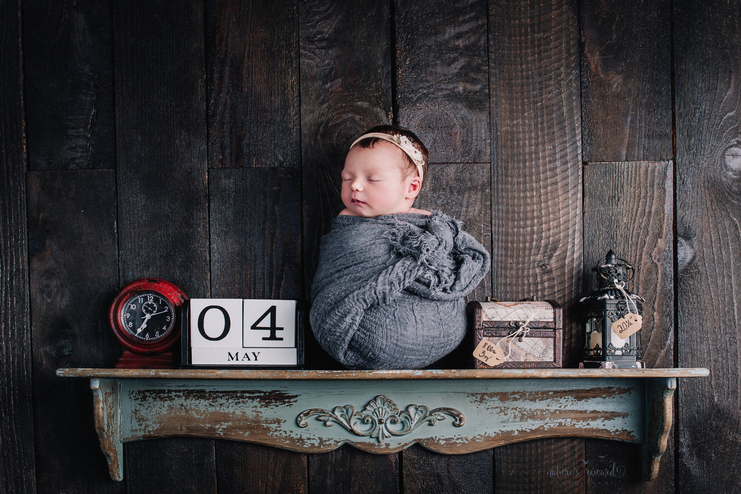 Her birthday story on a shelf. Born at 6:34 on May 4th weighing 8 pounds 3 ounces and 2o inches long in this baby on a shelf portrait by Nature's Reward Photography