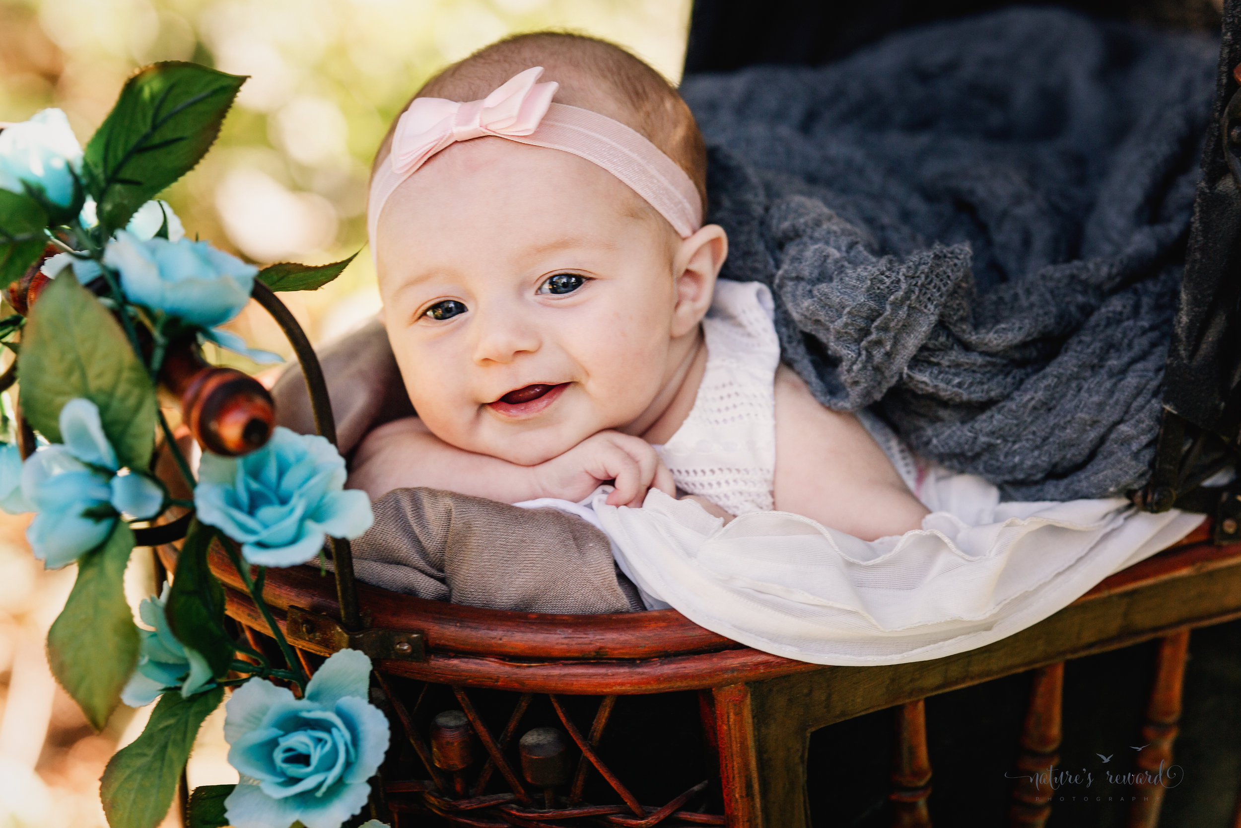 Three (3) month old smiling baby girl in a white dress and pink hair band lays dreamingly in an antique doll carriage in the beautiful setting sunlight in park setting in this portrait by Nature's Reward Photography.