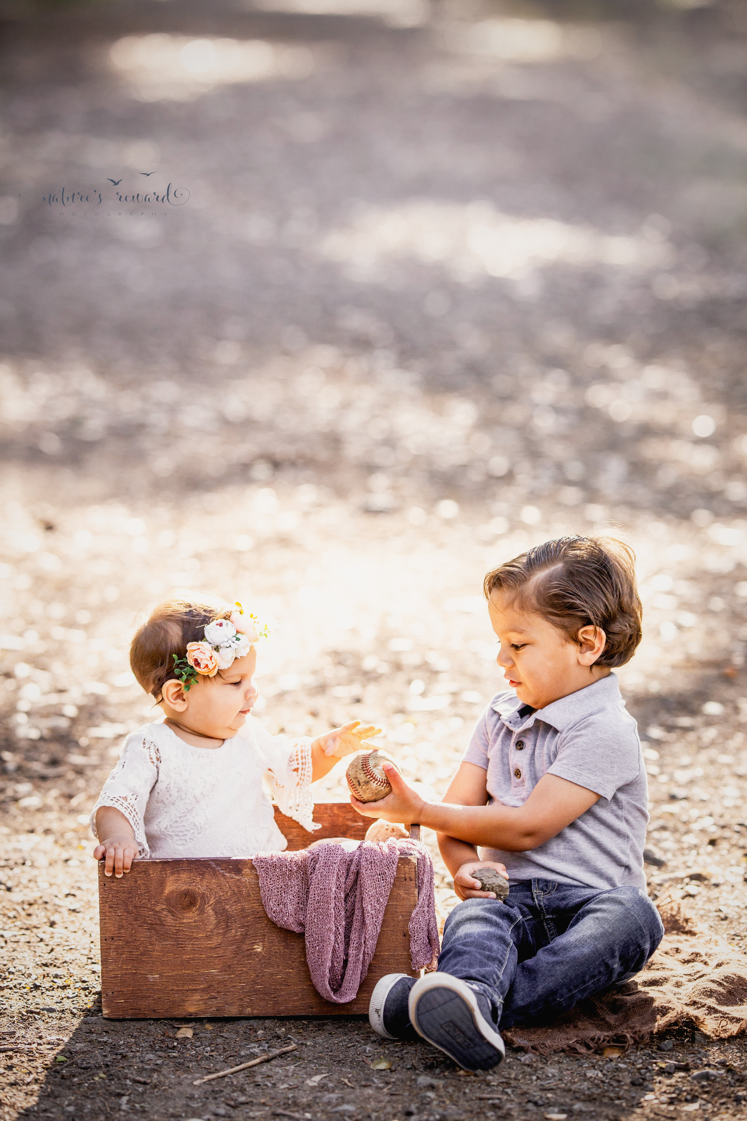 Baby girl sits in a wooden box wearing white lace romper and a flower crown while engaging with her big brother in this portrait by Nature's Reward Photography