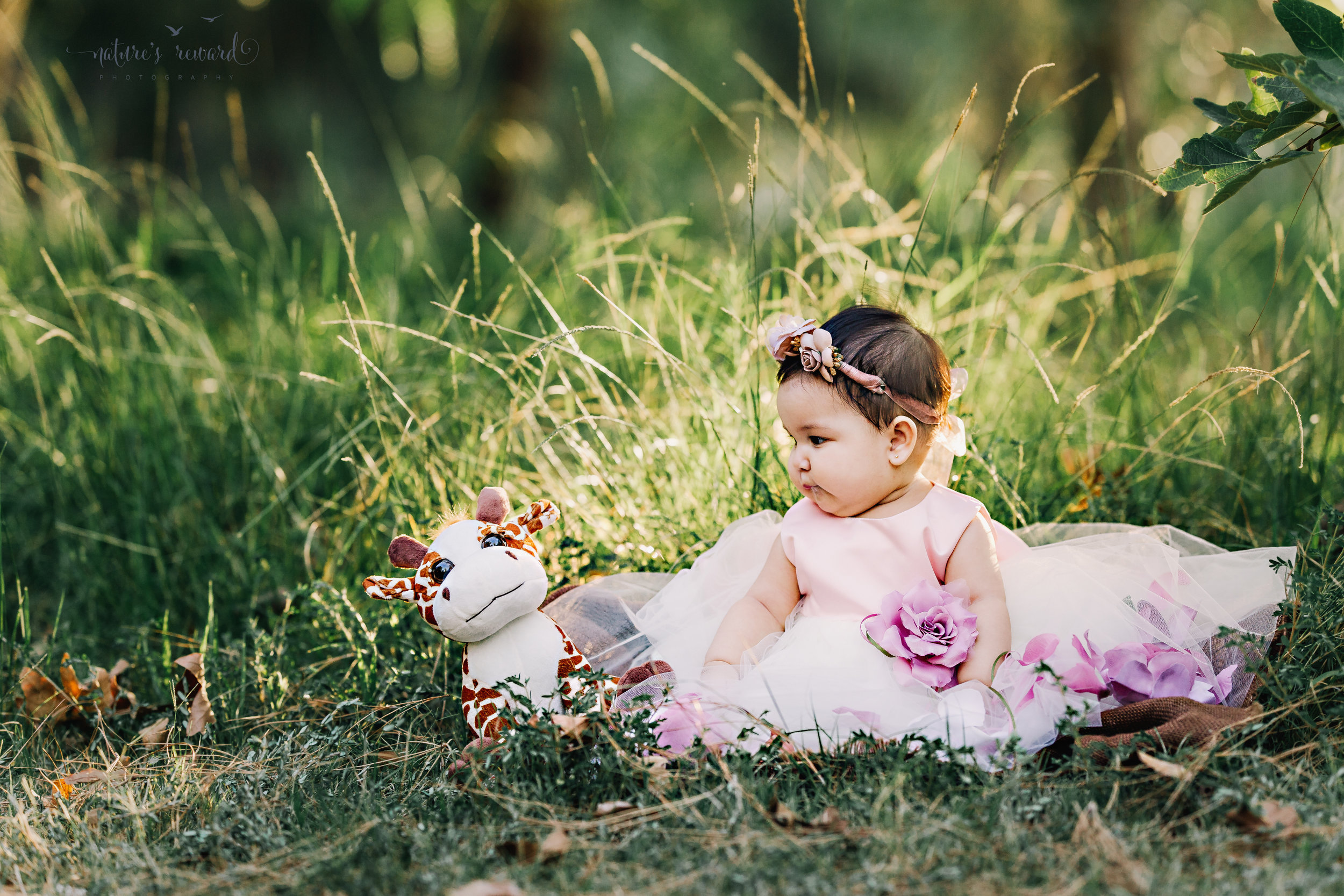 Gorgeous baby Girl in a lovely soft pink and lace gown full of flower petals surrounded by lush greenery, sitting with her friend the giraffe, in this sitter portrait by Nature's Reward Photography