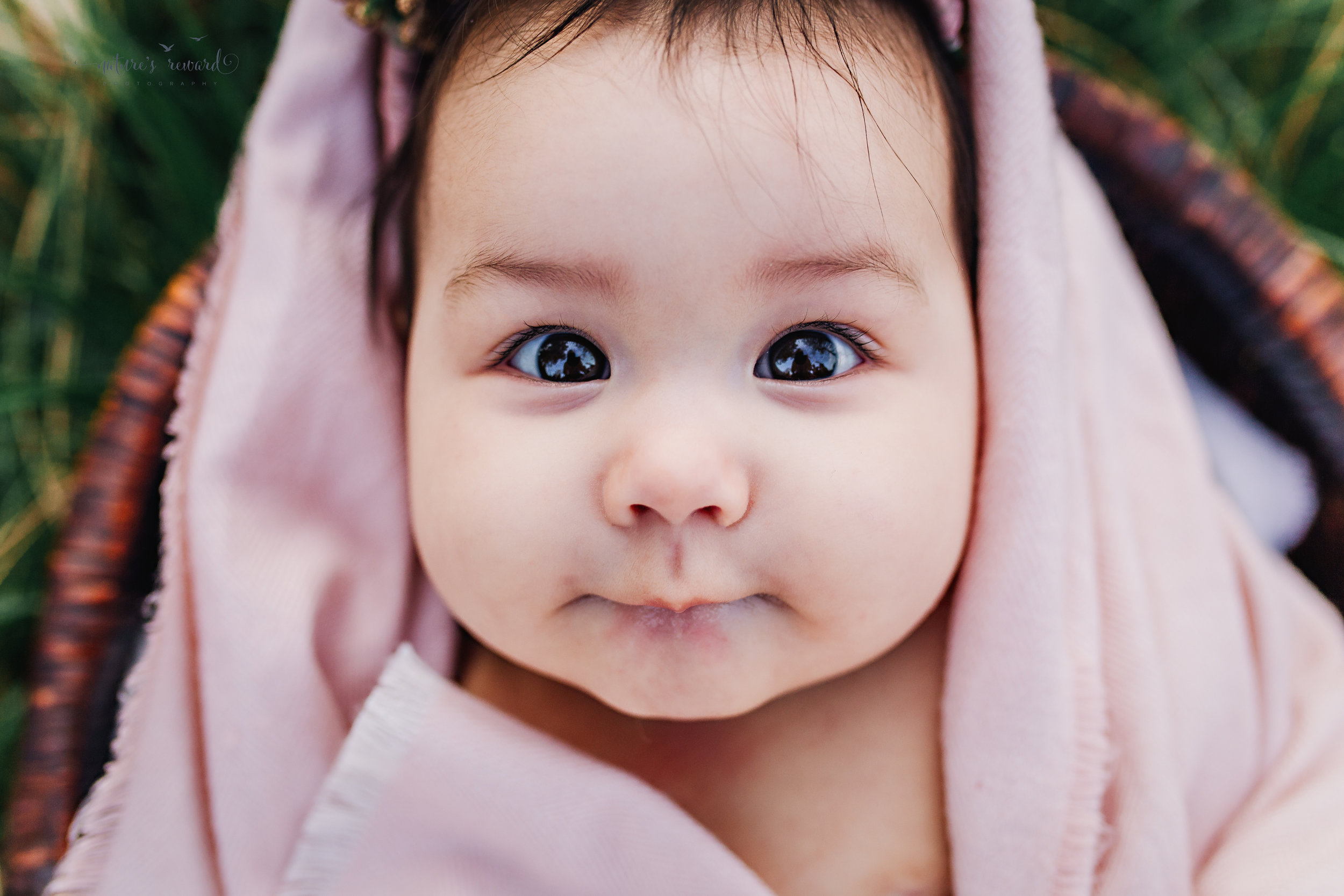 All bundled in the bath! Gorgeous eye connection and the cutest face from this baby girl after her bath is this lovely sitter portrait by Nature's Reward Photography