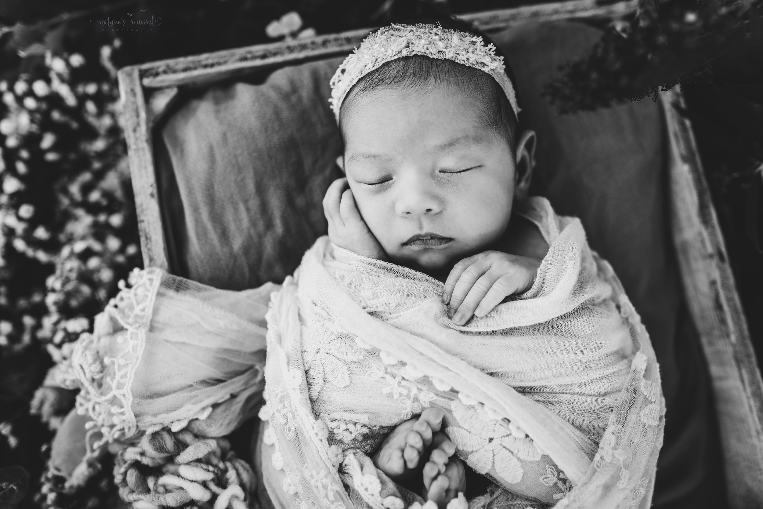 Gorgeous black and white baby newborn girl swaddled in pink wearing a white tie back and in a garden surrounded by lush greens and flowers in this portrait by Nature's Reward Photography