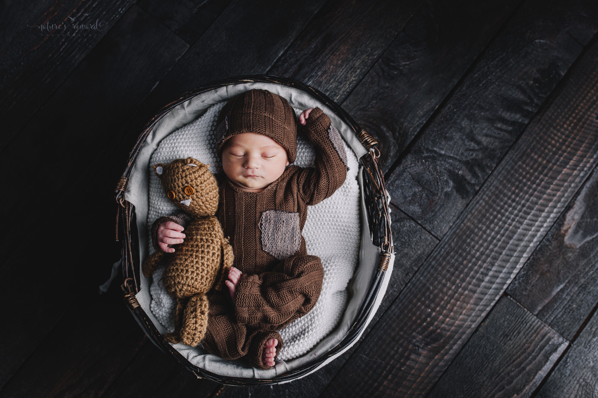 Newborn baby boy portrait wearing a brown outfit and matching cap holding a teddy by Nature's Reward Photography