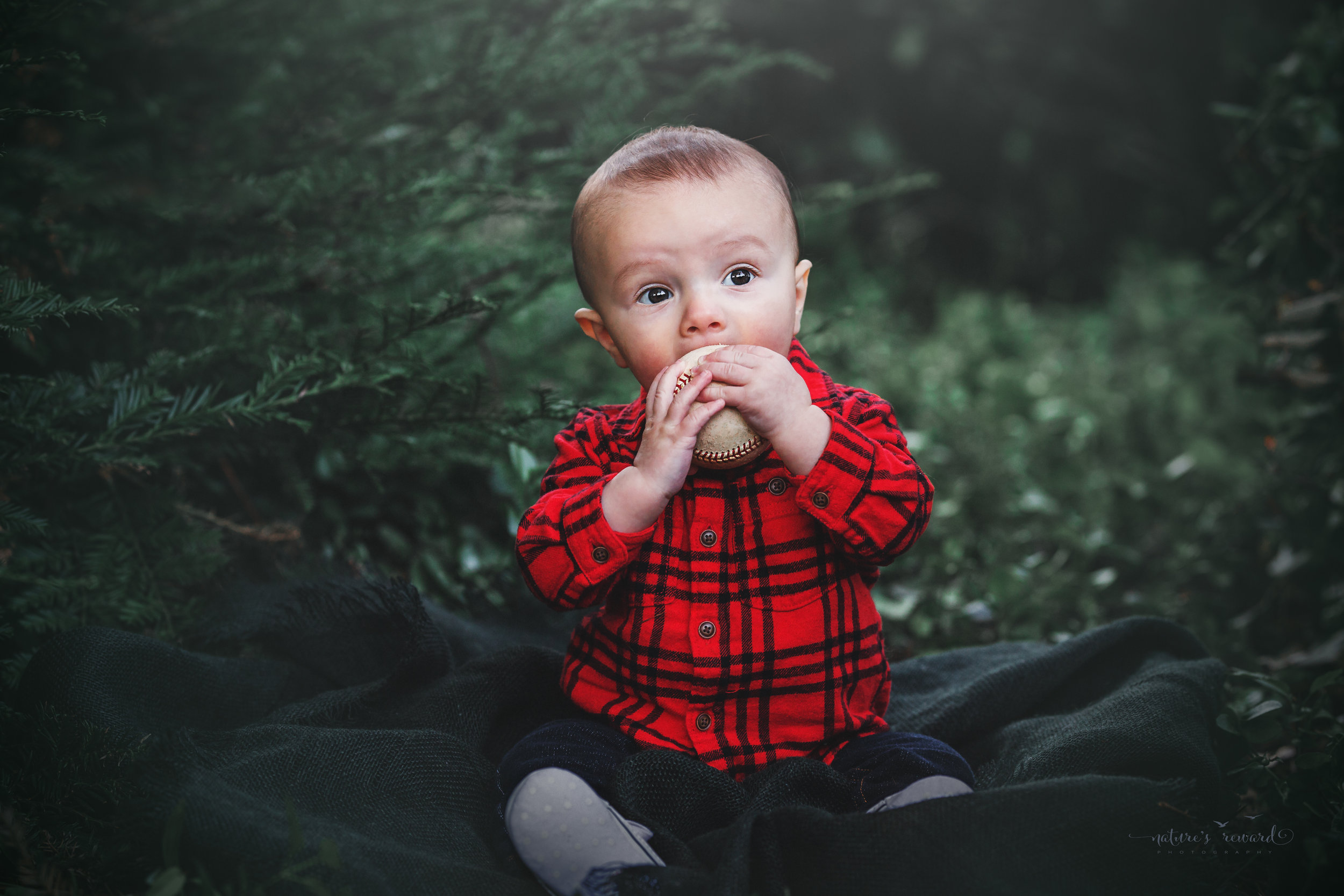 6 month old baby boy and his baseball in a lush green park setting in Redlands, Ca. by San Bernardino photographer- Nature's Reward Photography