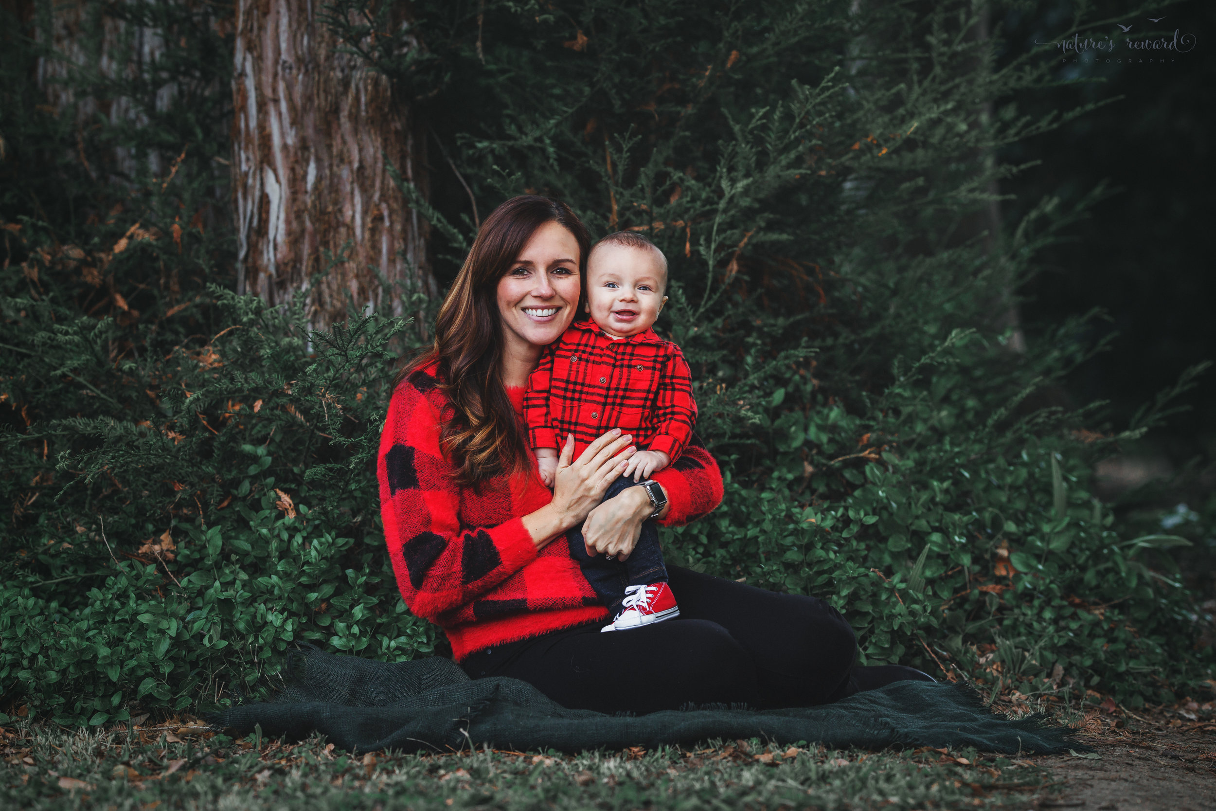 6 month old baby boy with his mommy in a lush green park setting in Redlands, Ca. by San Bernardino photographer- Nature's Reward Photography