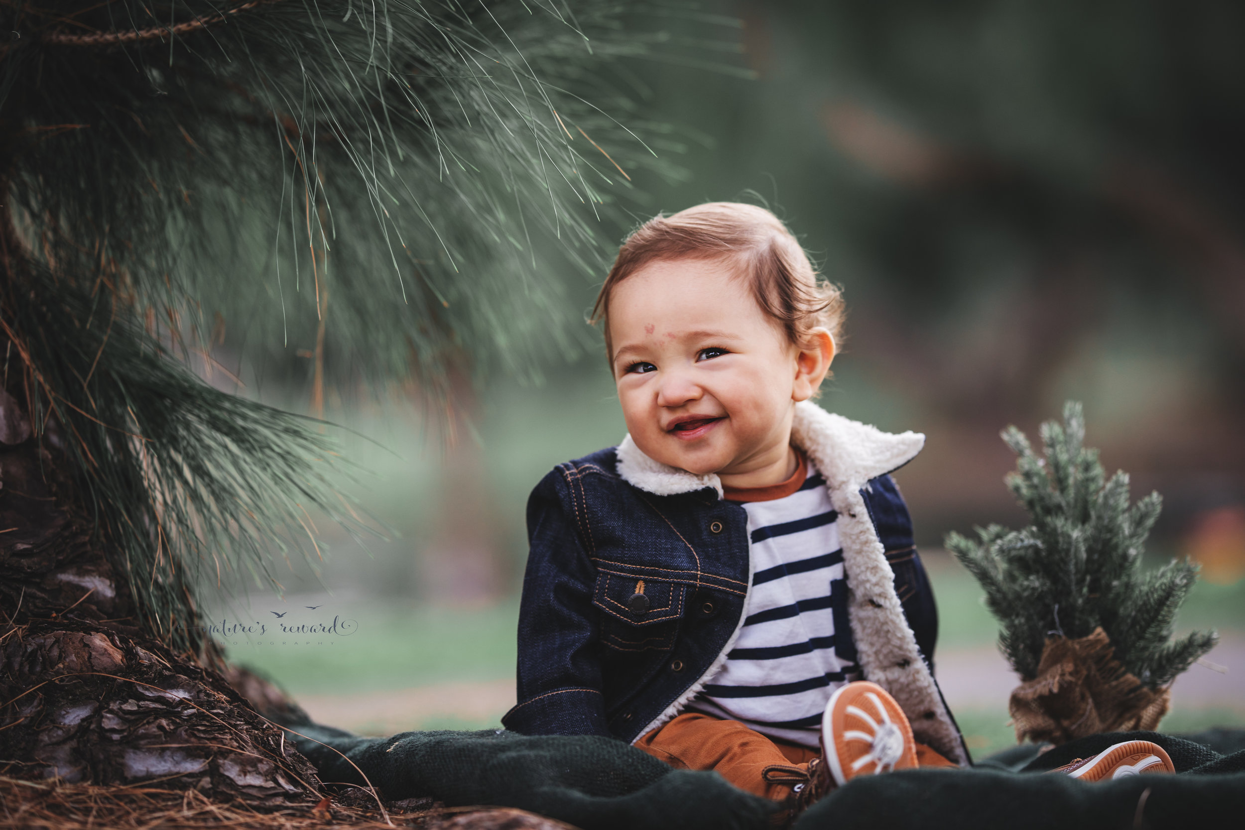 Baby boy in tans and blues in a portrait by Nature's reward Photography