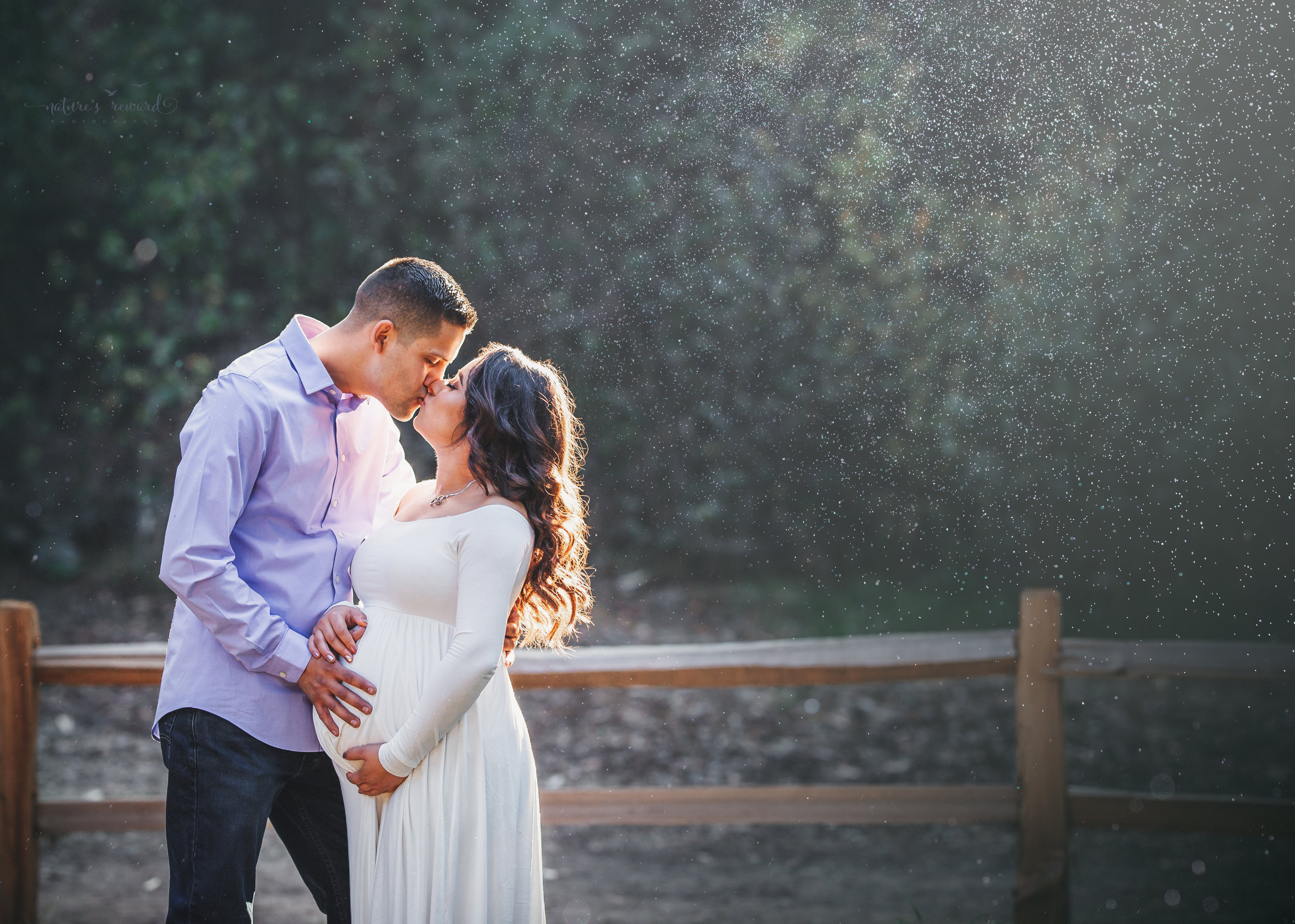 Gorgeous Maternity session in a white maternity gown in Redlands, ca park by San Bernardino photographer- Nature's Reward Photography