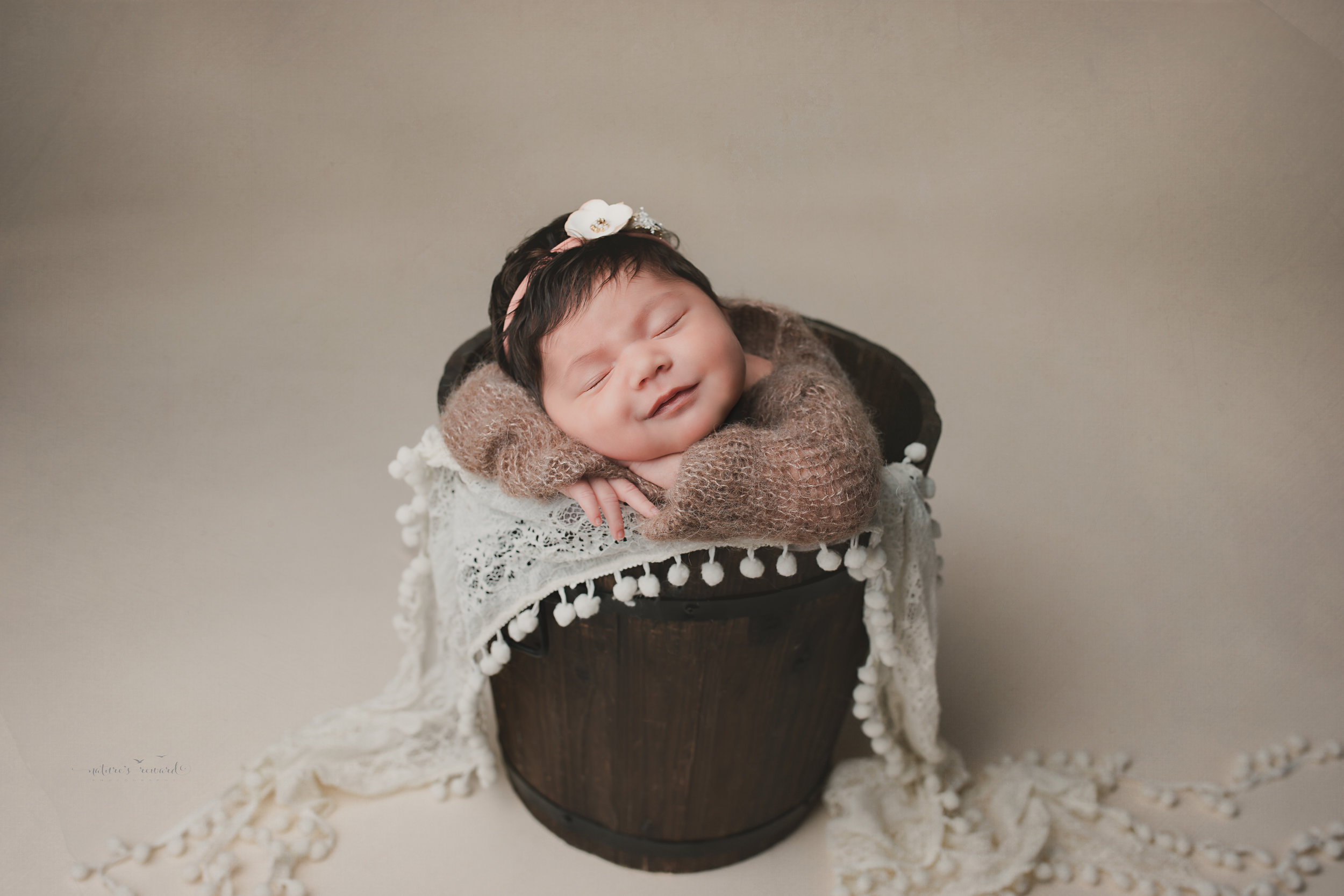 Newborn baby girl in a bucket on tan background, a portrait by Nature's Reward Photography