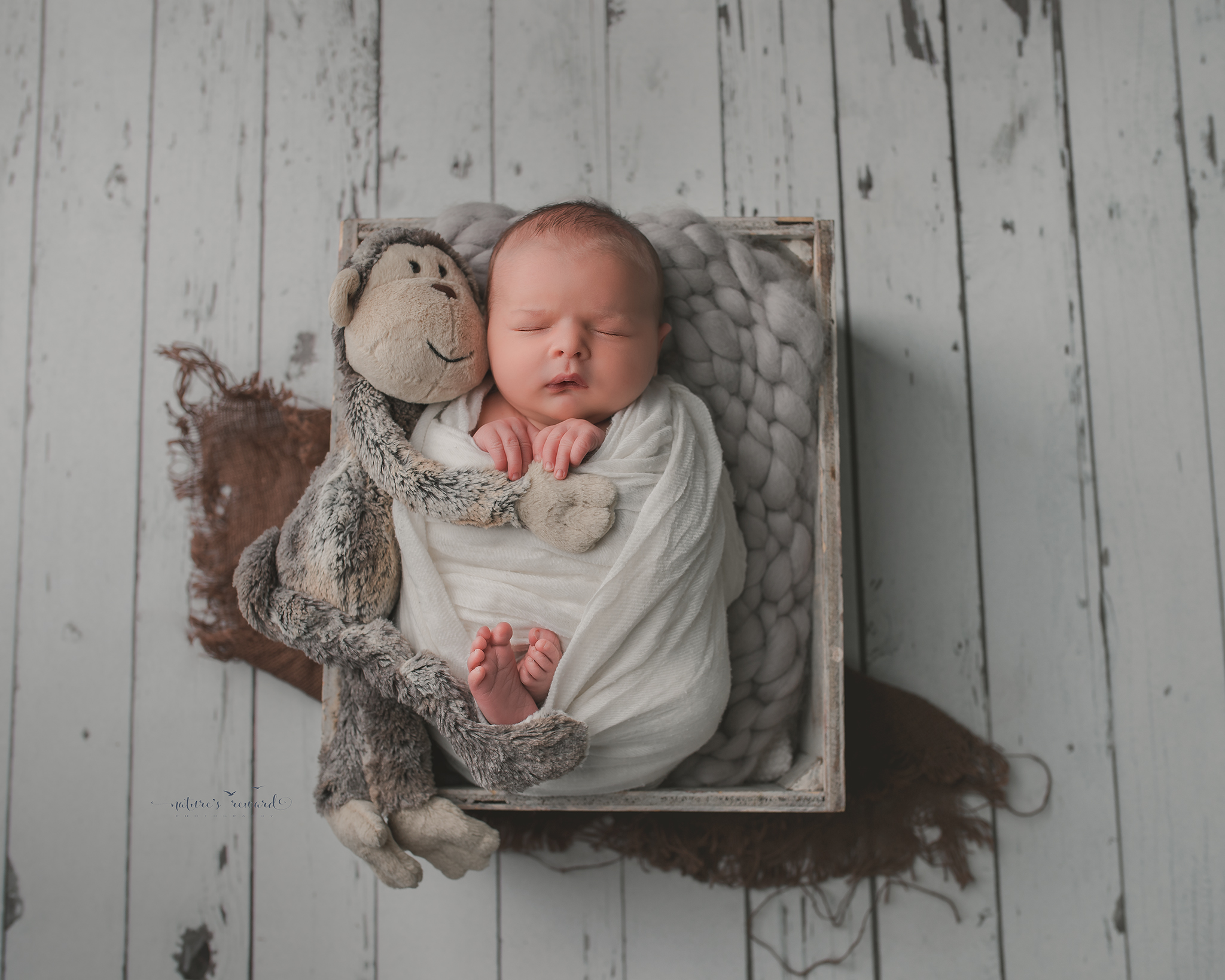 Newborn baby boy swaddled in white, on a white wood floor, resting in a box, a portrait by Nature's Reward Photography