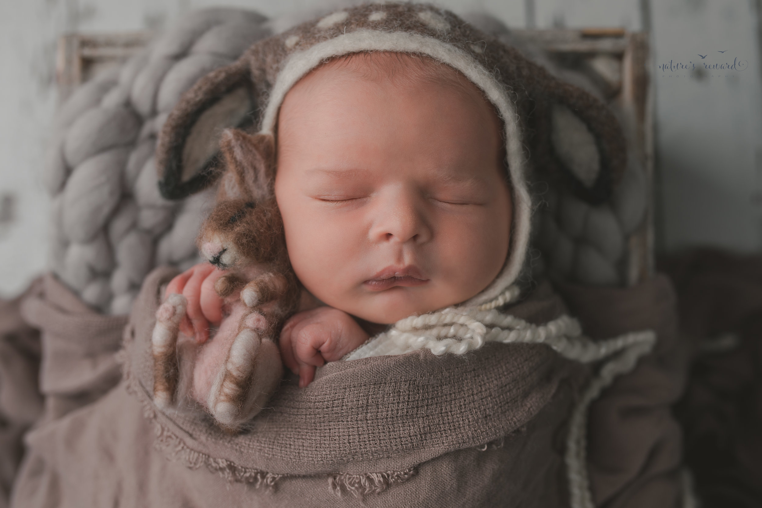 Newborn baby boy swaddled brown wearing a deer bonnet holding a bunny, on a white wood floor, resting in a box, a portrait by Nature's Reward Photography