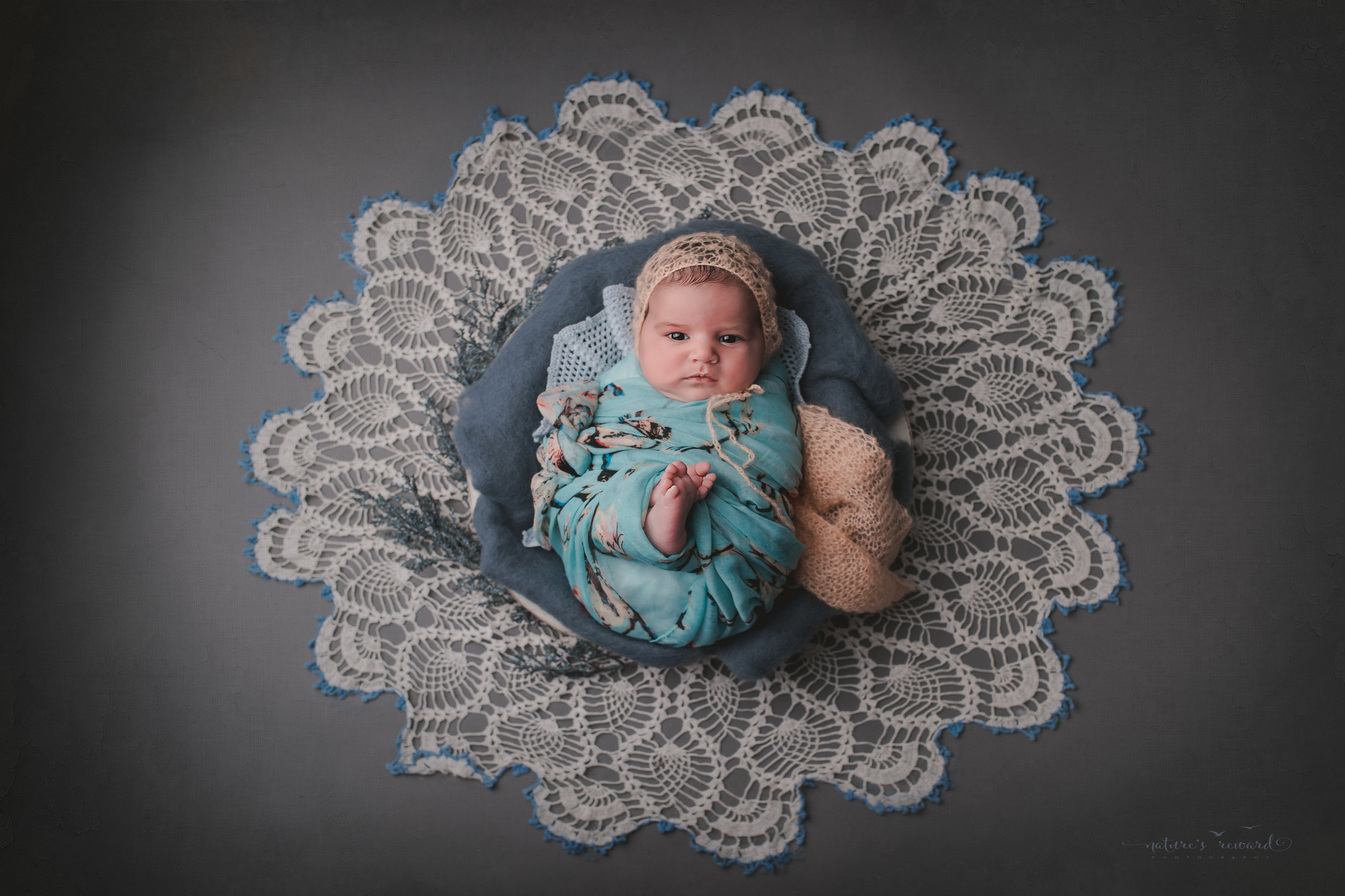 In blue floral and coral on vintage lace- a newborn portrait by nature's reward photography