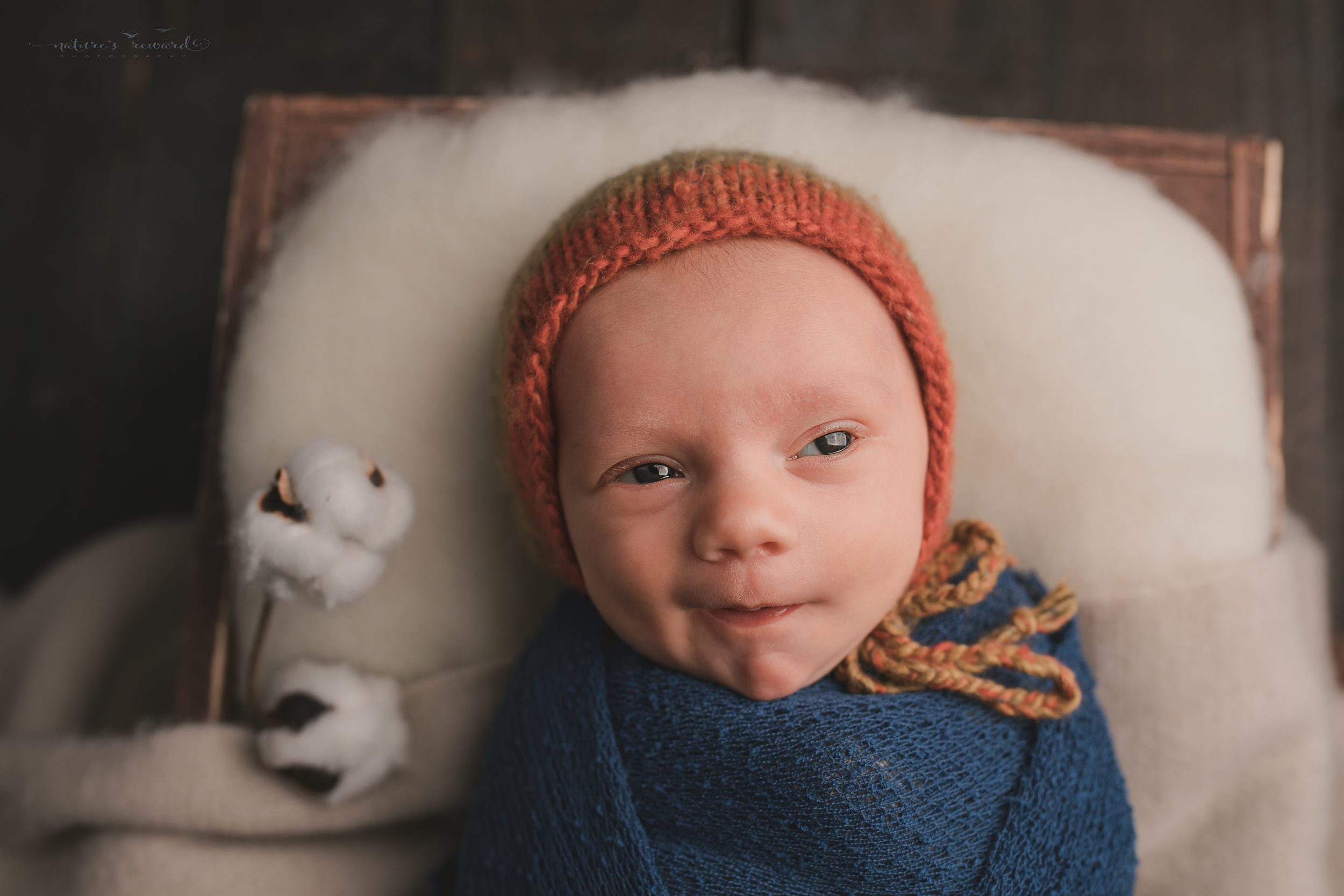 Baby boy in a box in a blue swaddled and multi color bonnet and on a tan throw. A portrait by Nature's Reward Photography