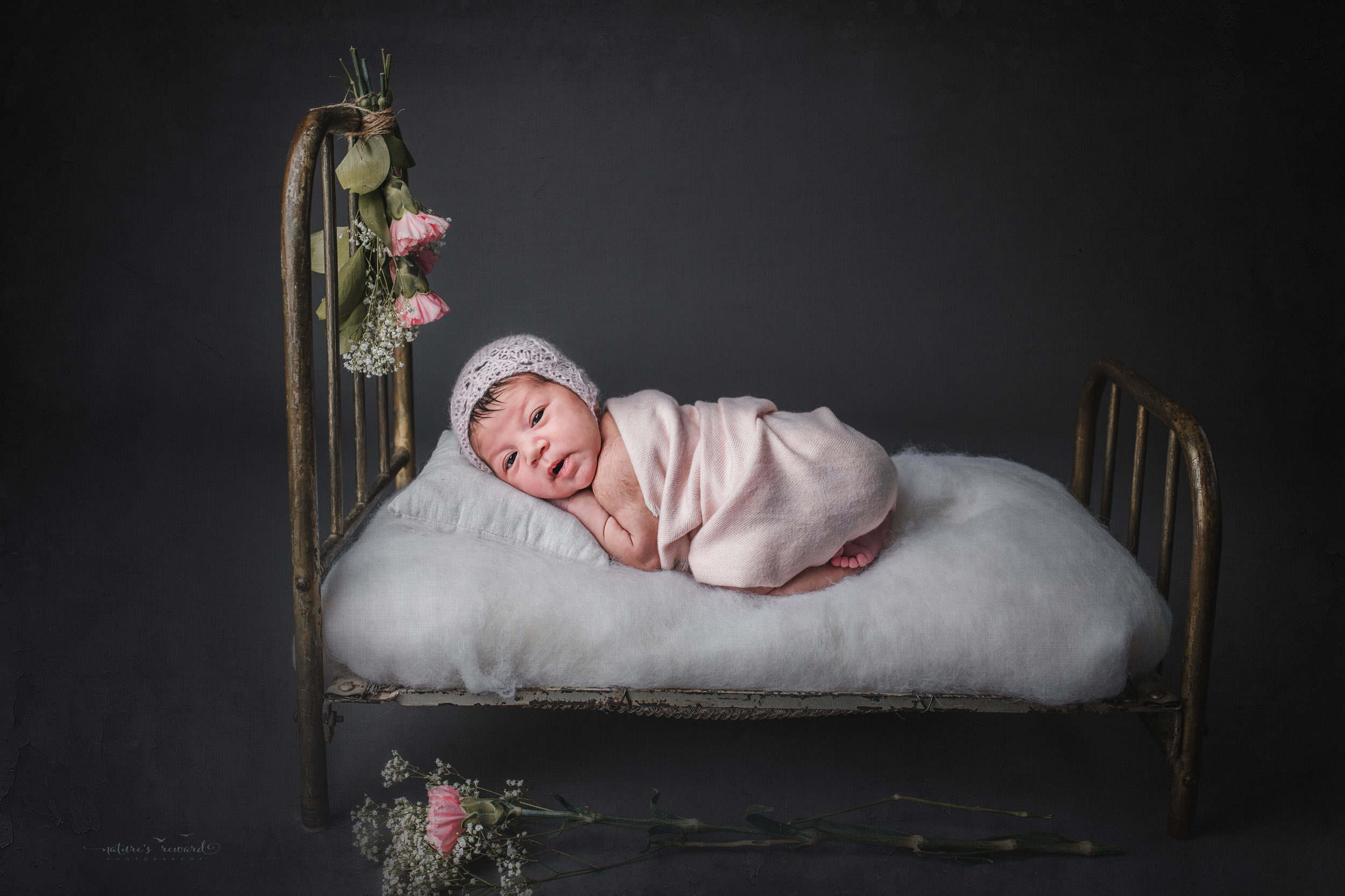 Newborn baby girl laying in a baby bed wearing pink, a portrait by Nature's Reward Photography