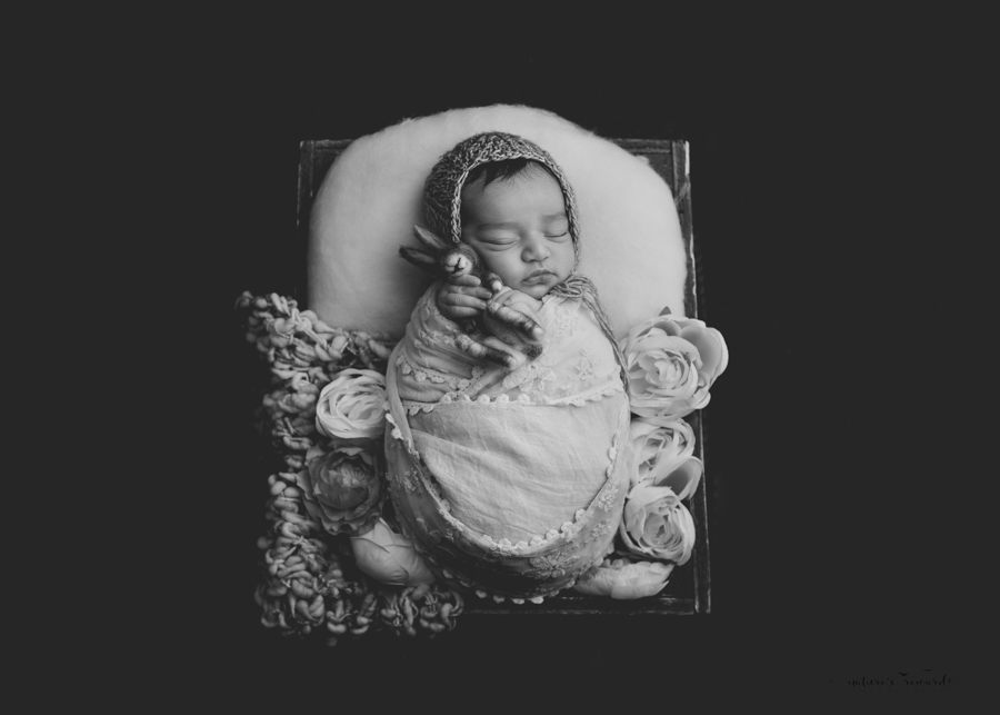 Black white portrait of a Newborn Baby girl wrapped in pink lace and sitting in a wooden box on a real wood floor in a stunning portrait by Nature's Reward Photography