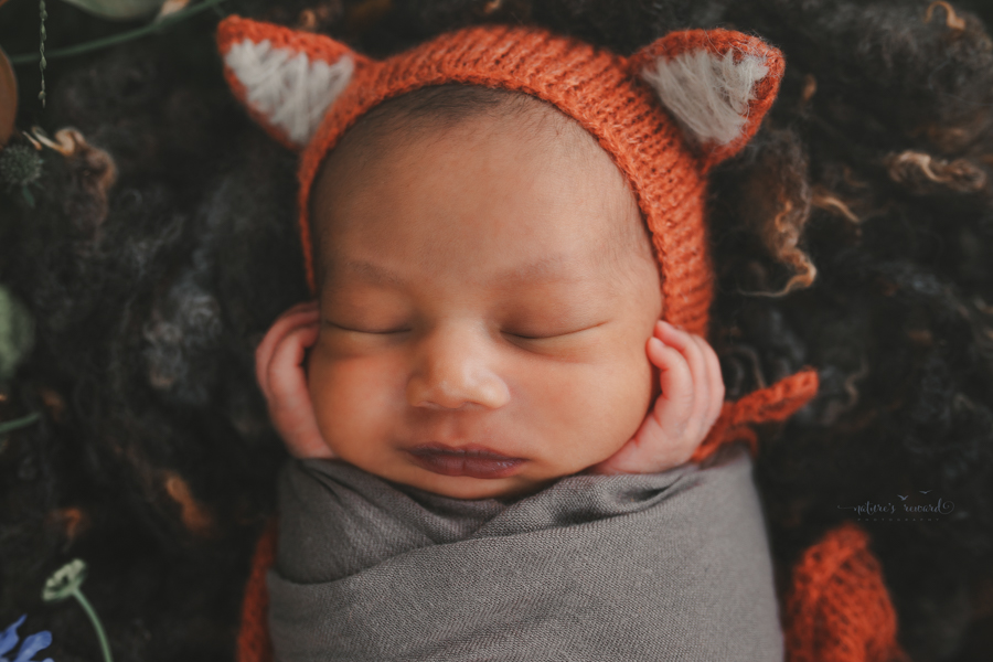Newborn Baby boy swaddled and in the Garden wearing the cutest fox Bonnet  in a portrait by Nature's Reward Photography