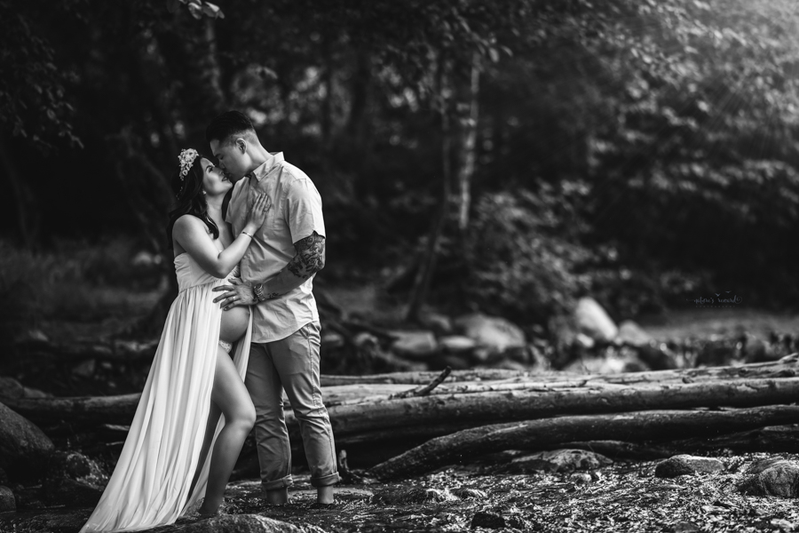 Black and white portrait of Maternity session by the creek by San Bernardino Maternity, Newborn and Family Photographer Nature's Reward Photography